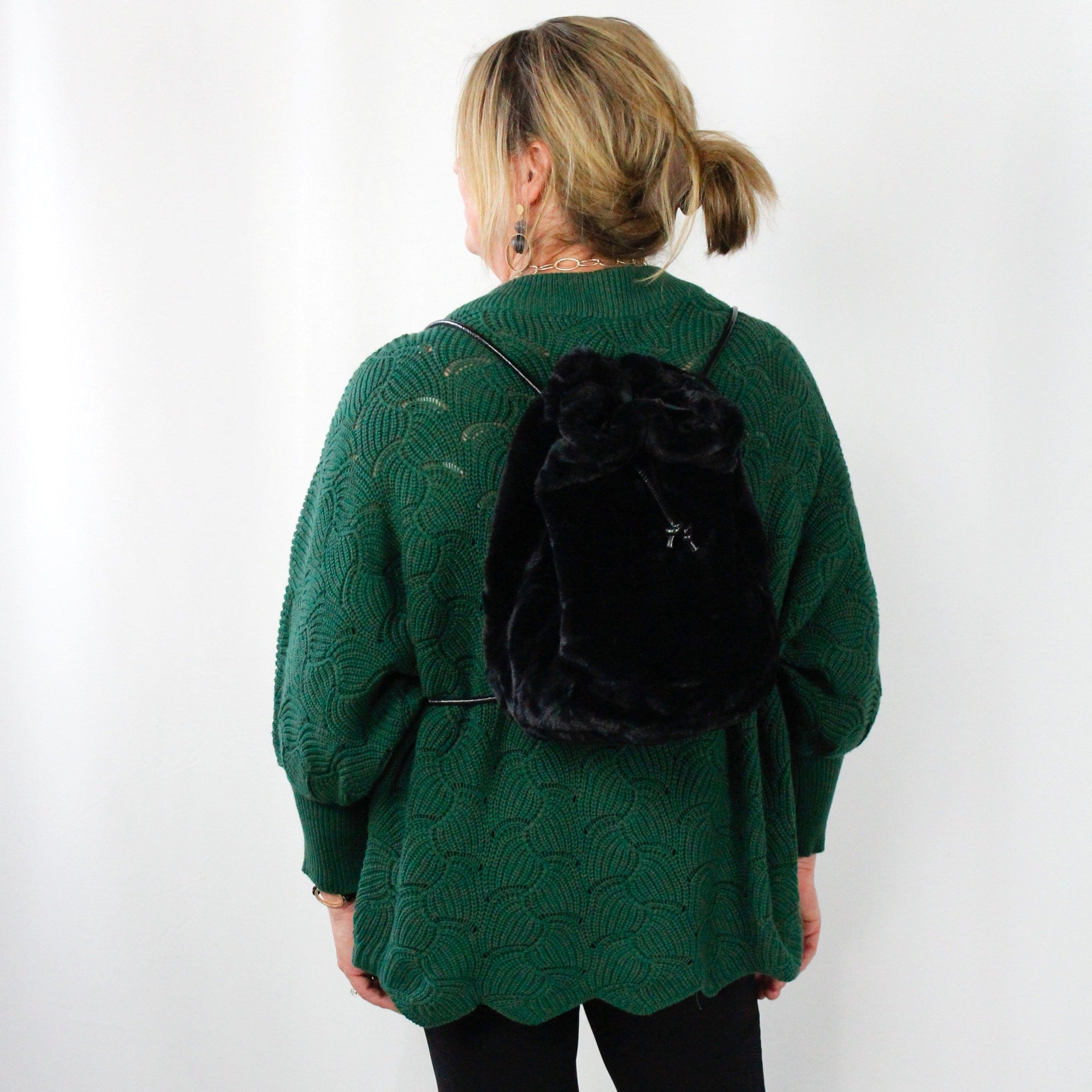 Fur Drawstring Backpack