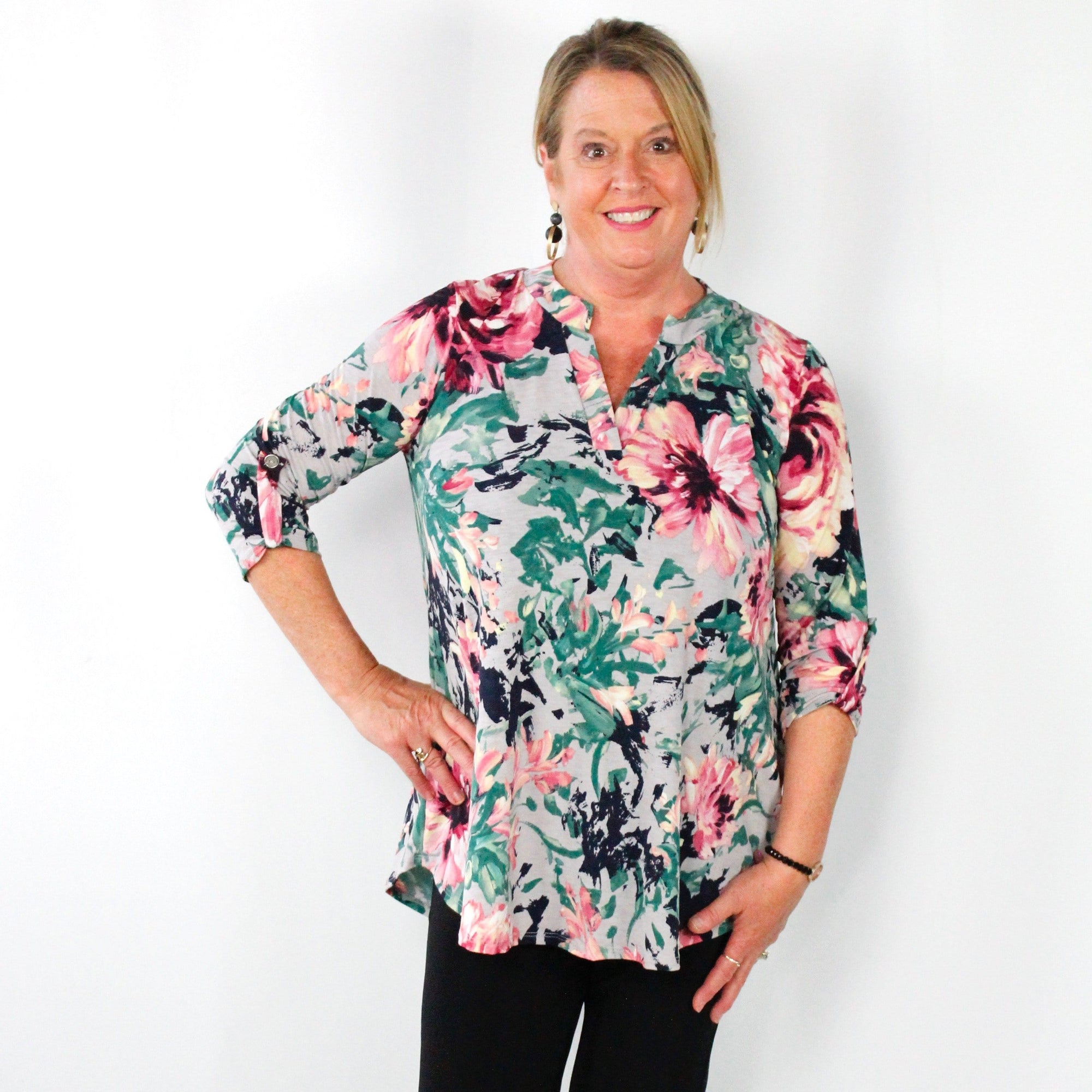 Brush Floral Gabby Blouse