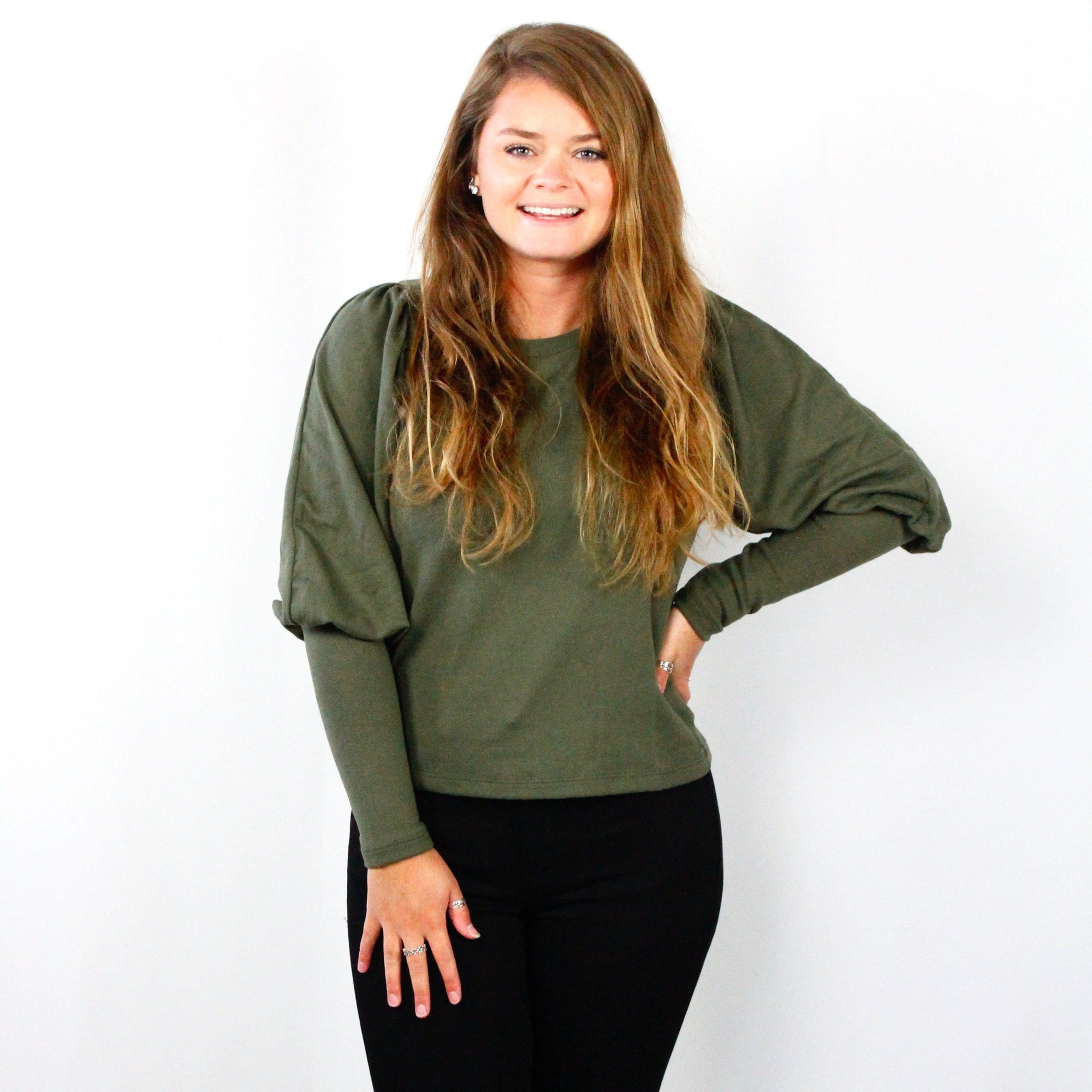 Olive Puffy Sleeve Sweater