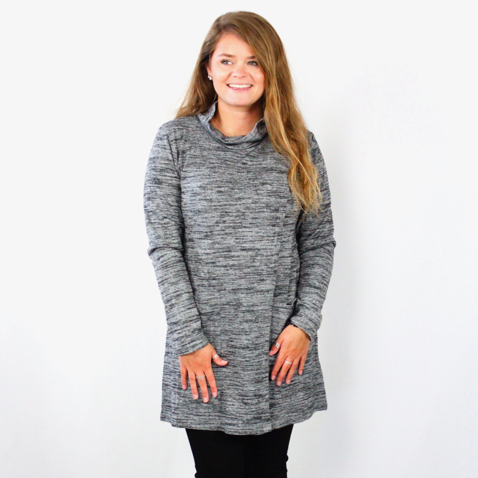 Heathered Wrap Pocket Tunic