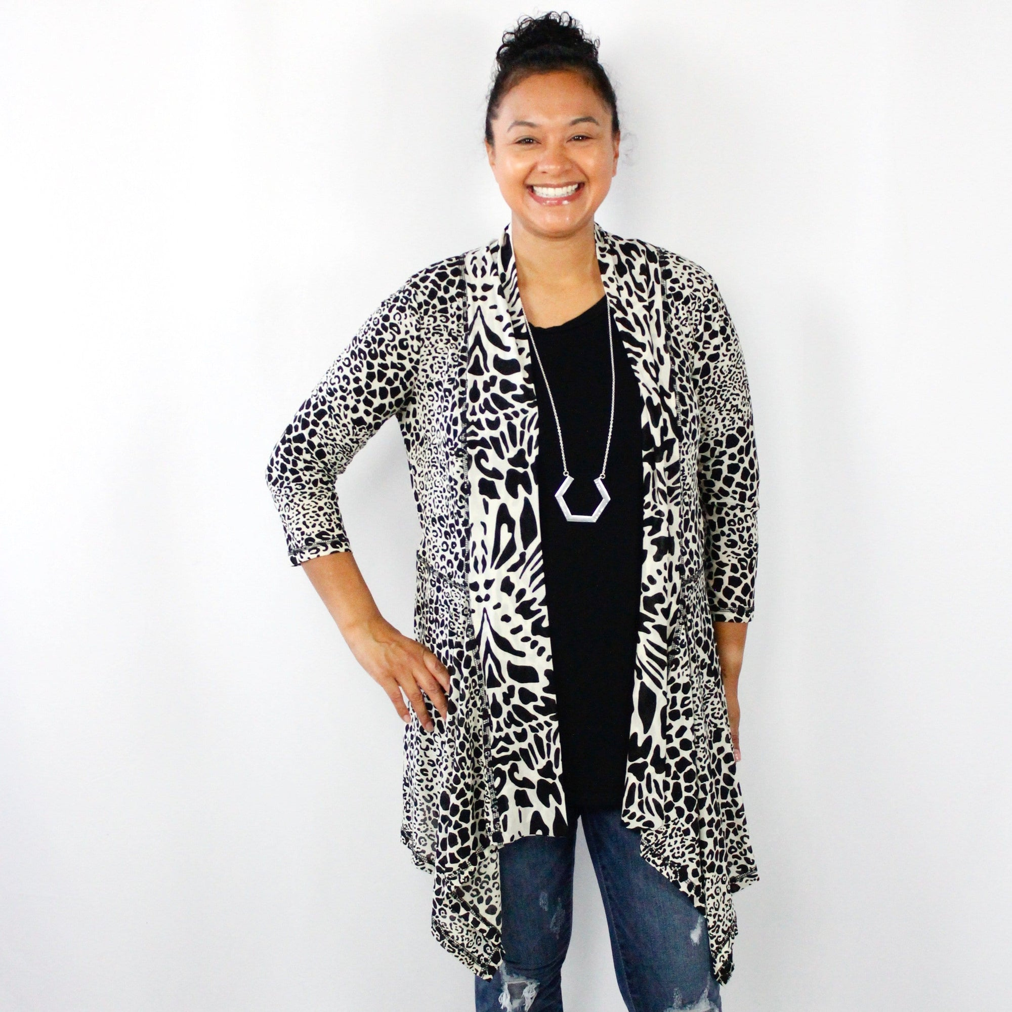 Abstract Leopard Print Cardigan