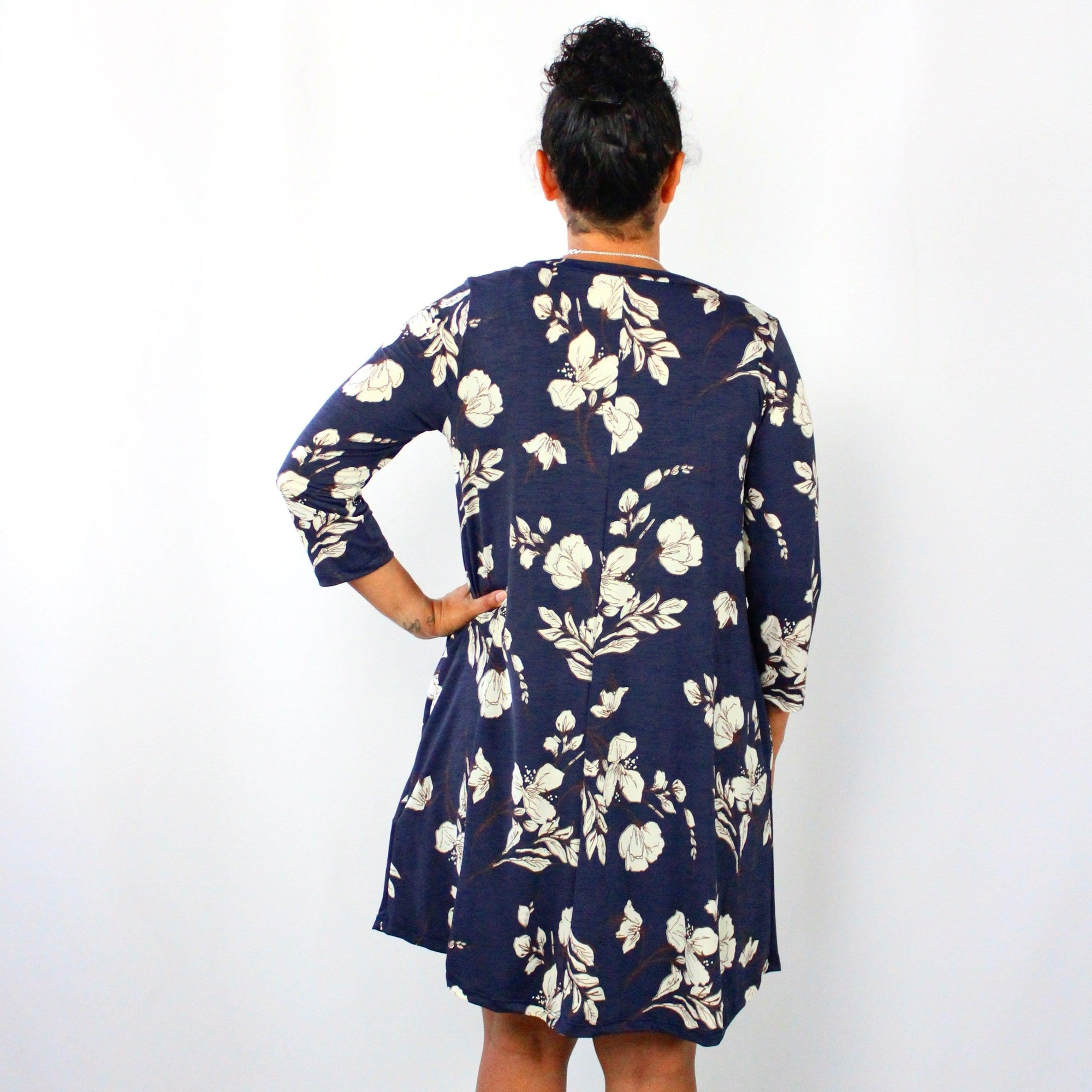 Navy Ivory Floral Swing Dress