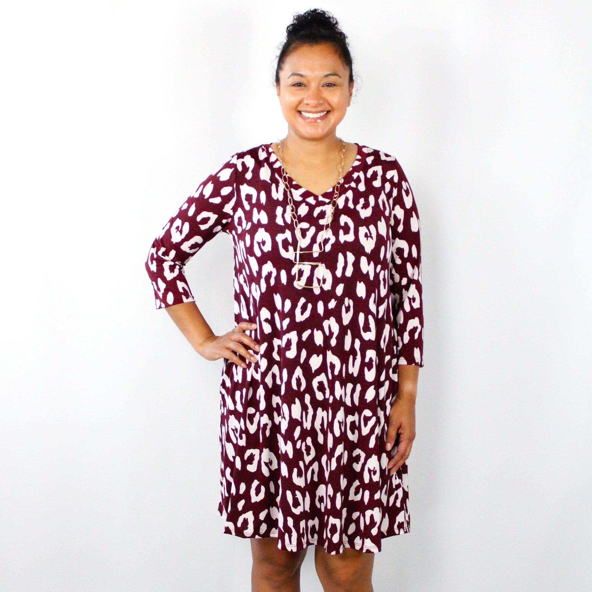 Burgundy Leopard Swing Dress