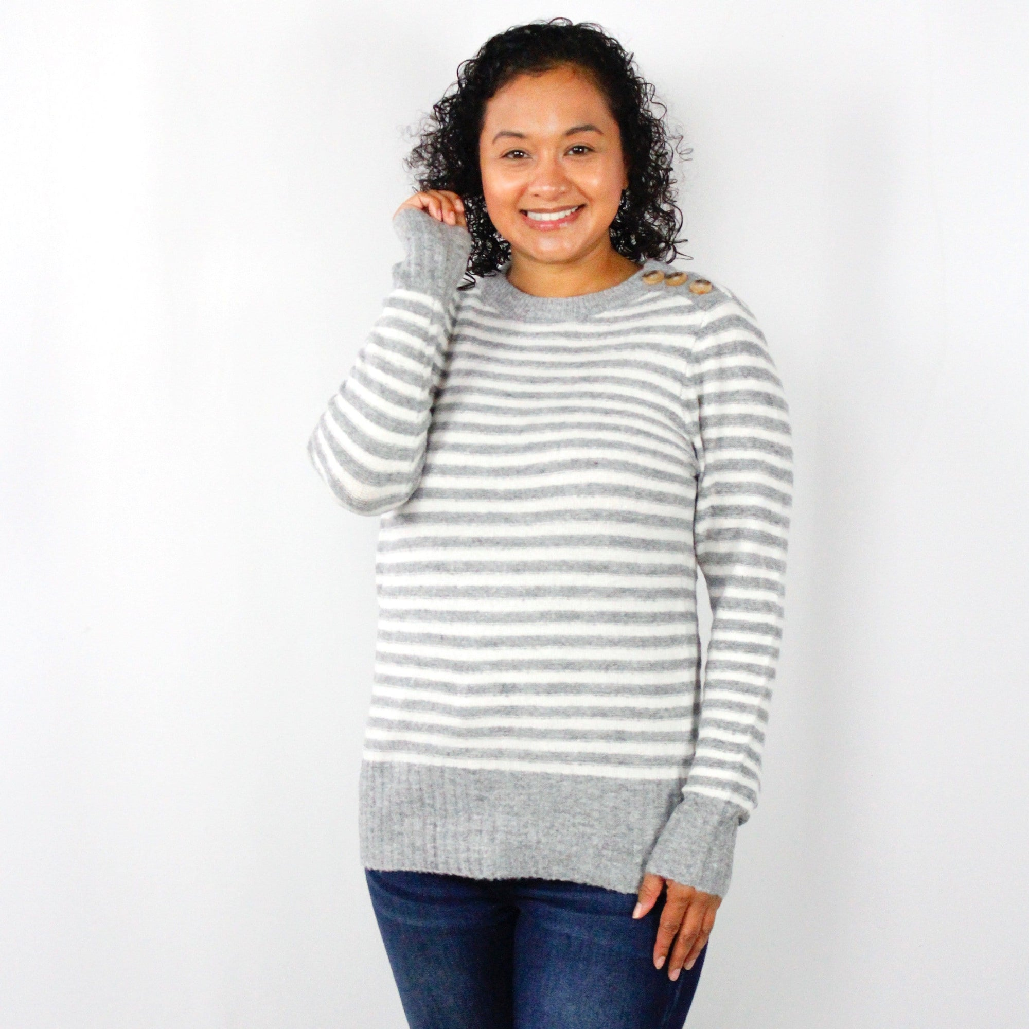 Button Detail Stripe Sweater