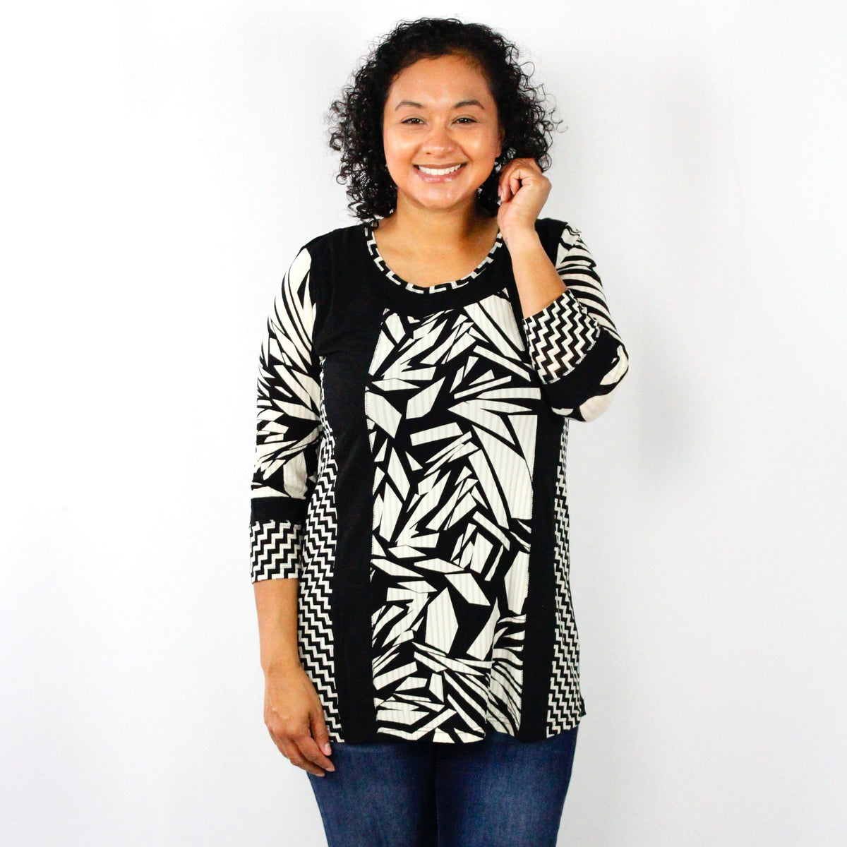 Black & Cream Mix Print Top