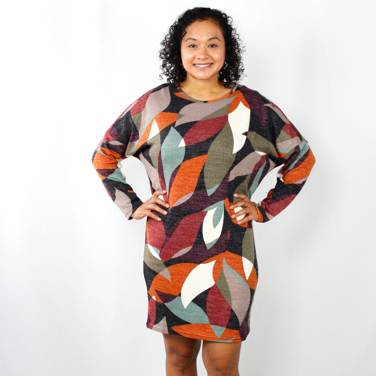 Rust Abstract Knit Dress