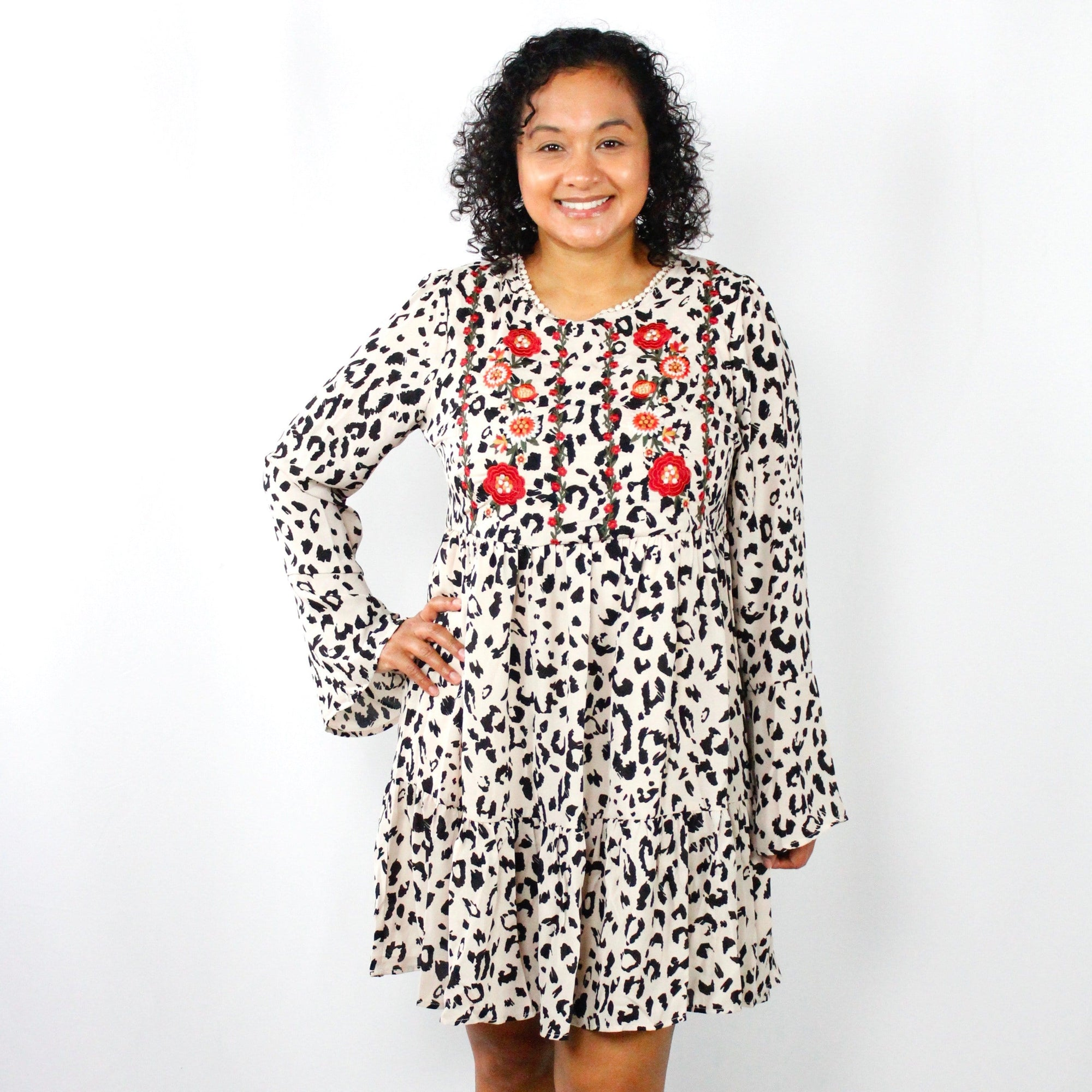 Animal Print Embroidered Ruffle Dress