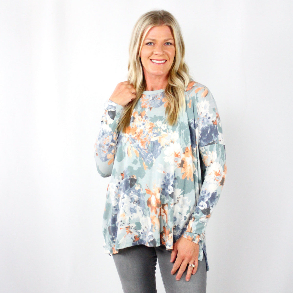 Mint Fall Floral Top