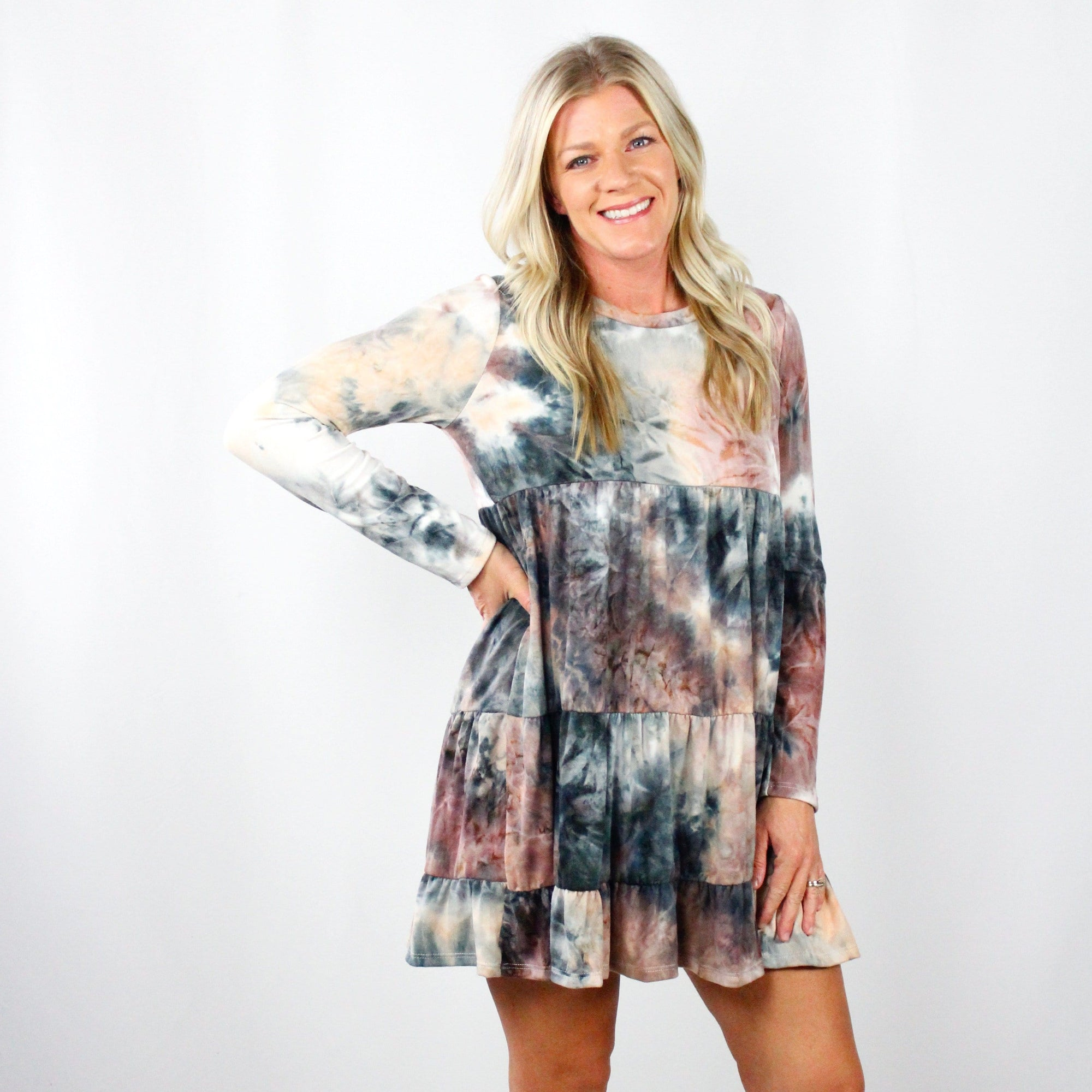 Tiedye Ruffle Tiered Dress