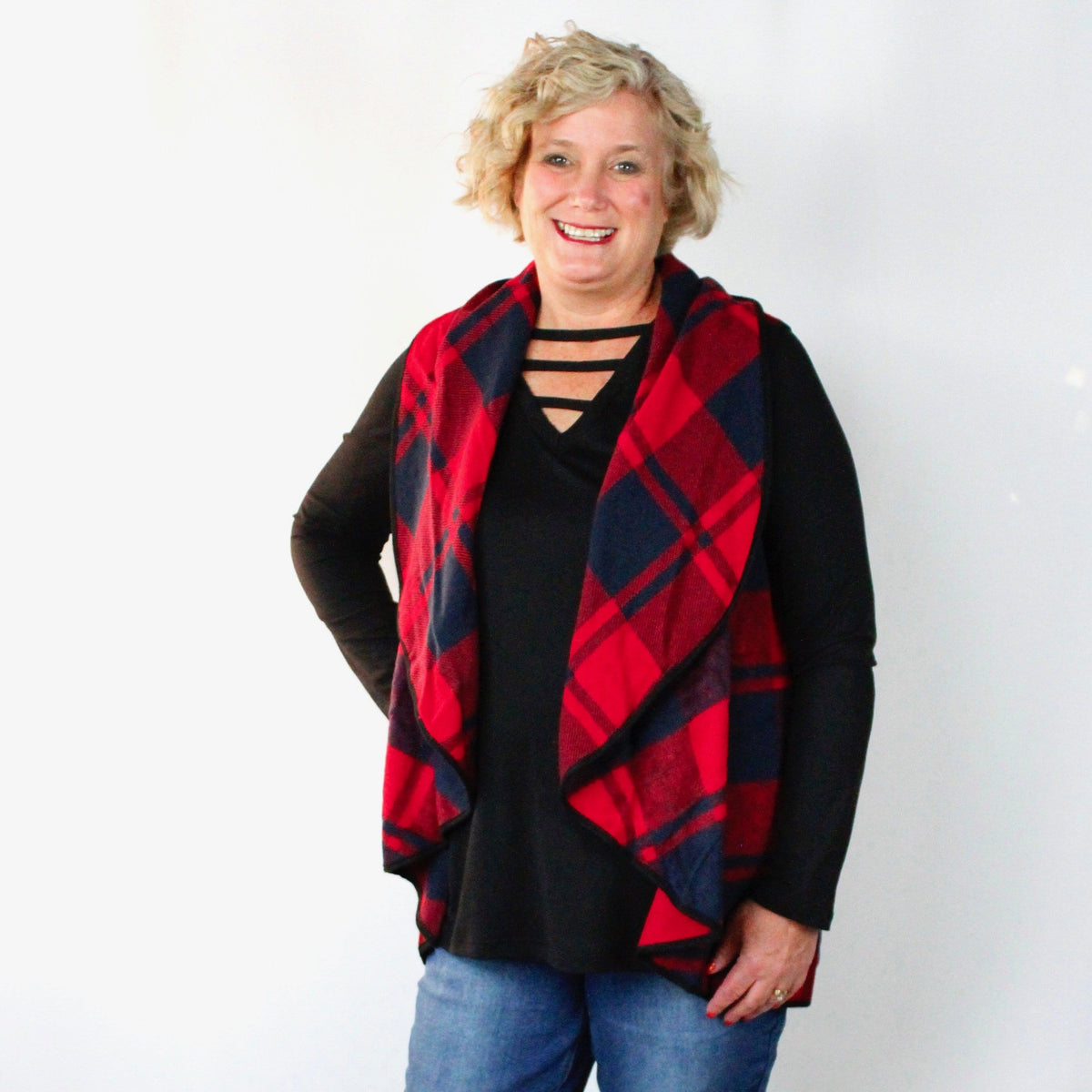 Cozy Plaid Pocket Vest