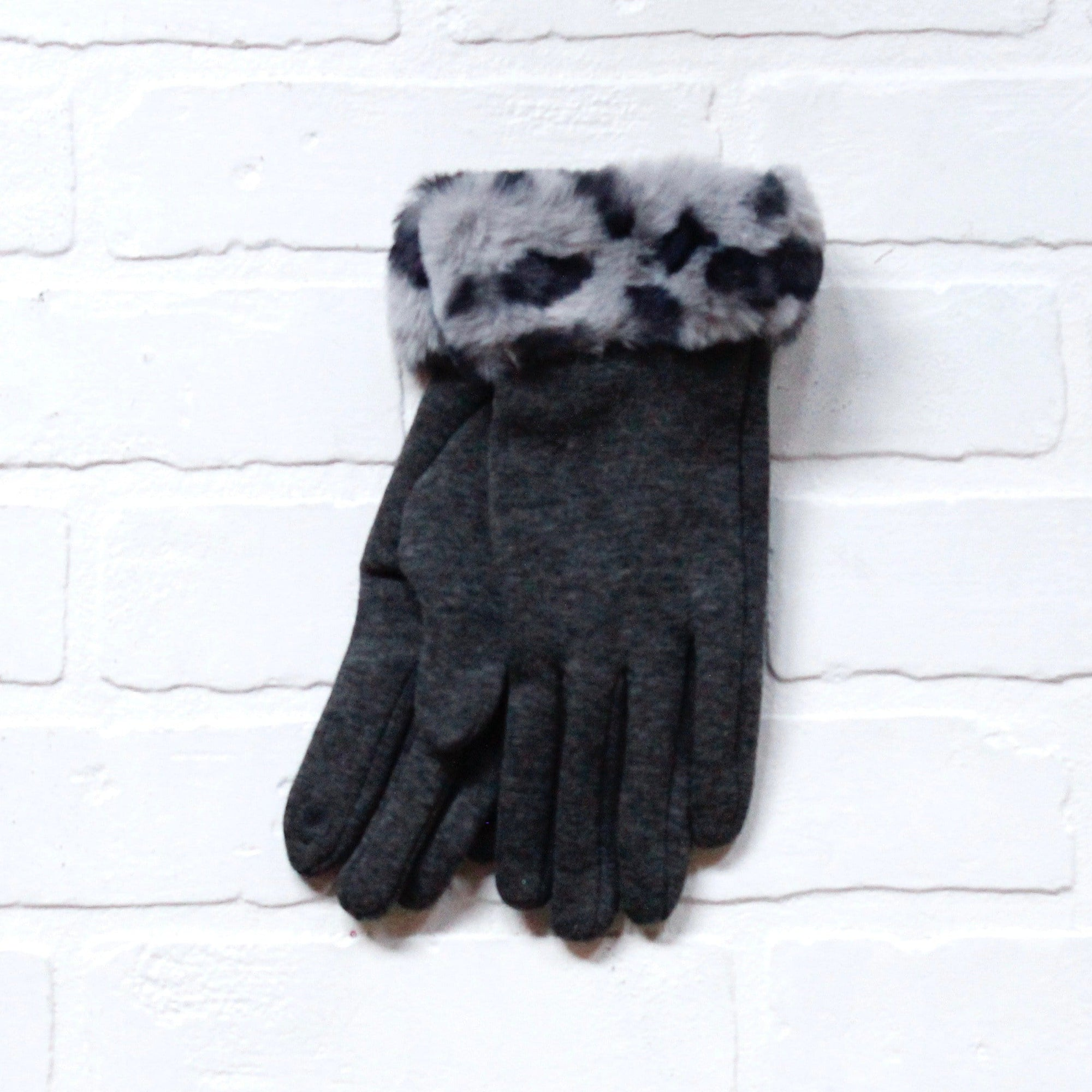 Leopard Fur Cuff Gloves