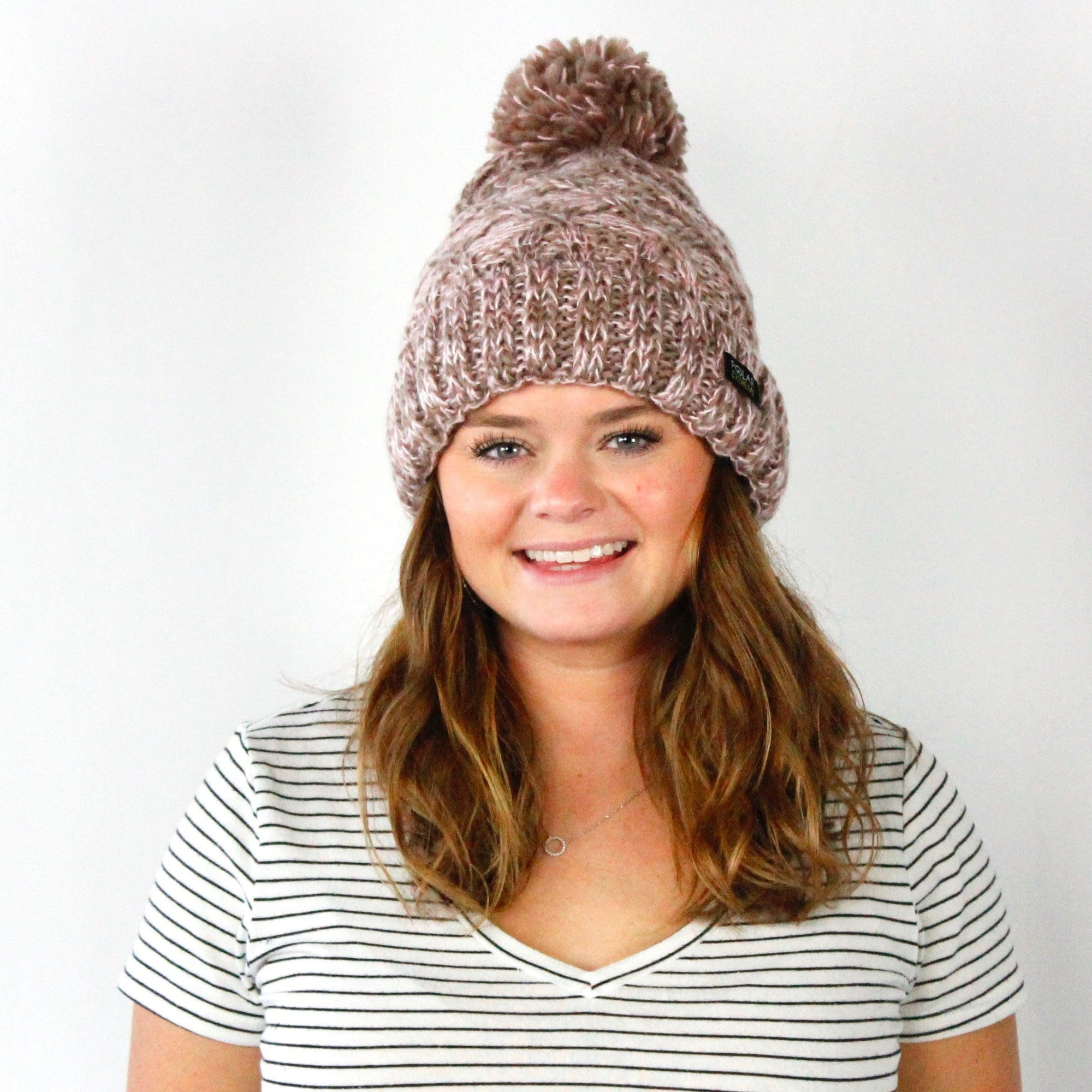 PE Heat Marl Cable Knit Pom Hat