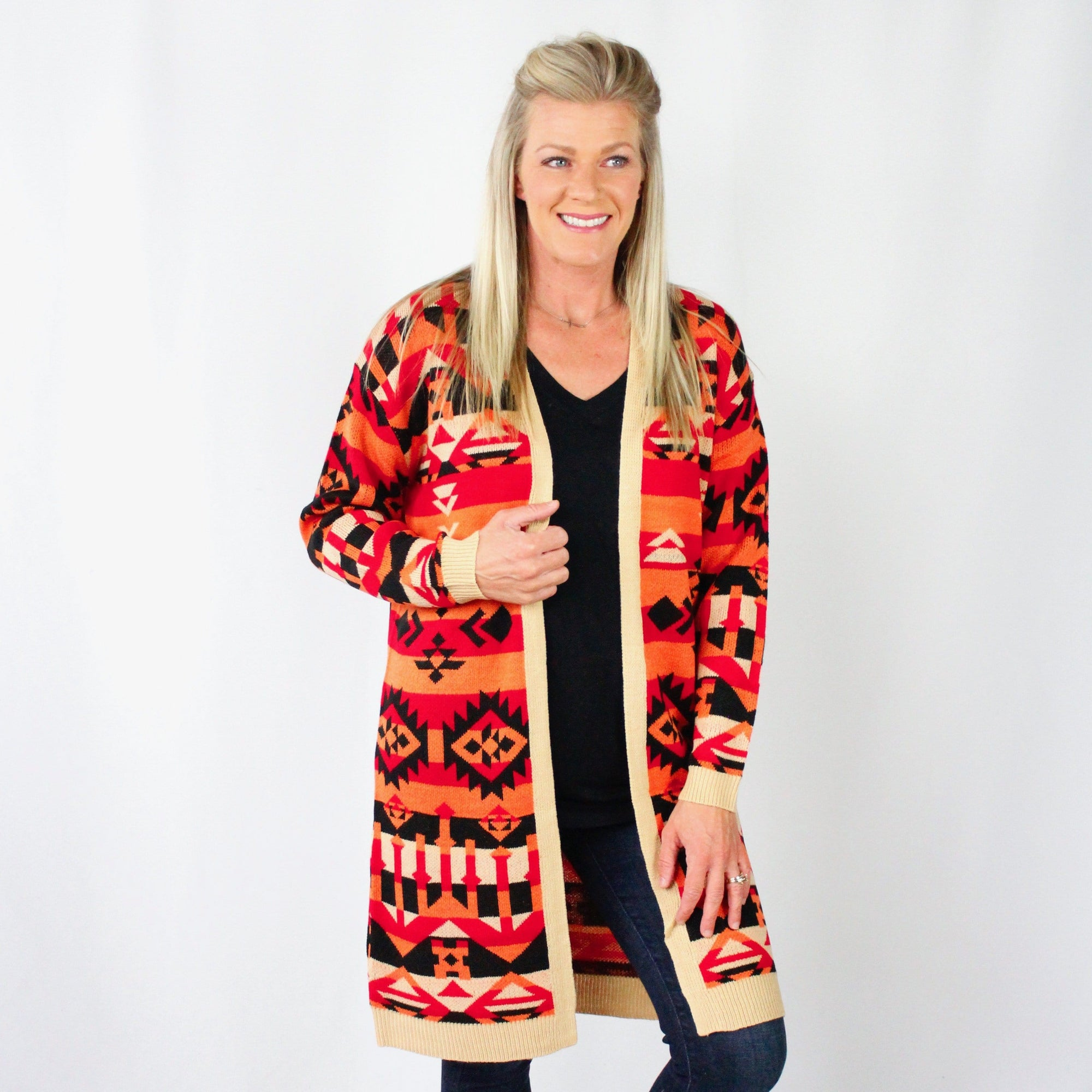 Coral Black Aztec Long Cardigan