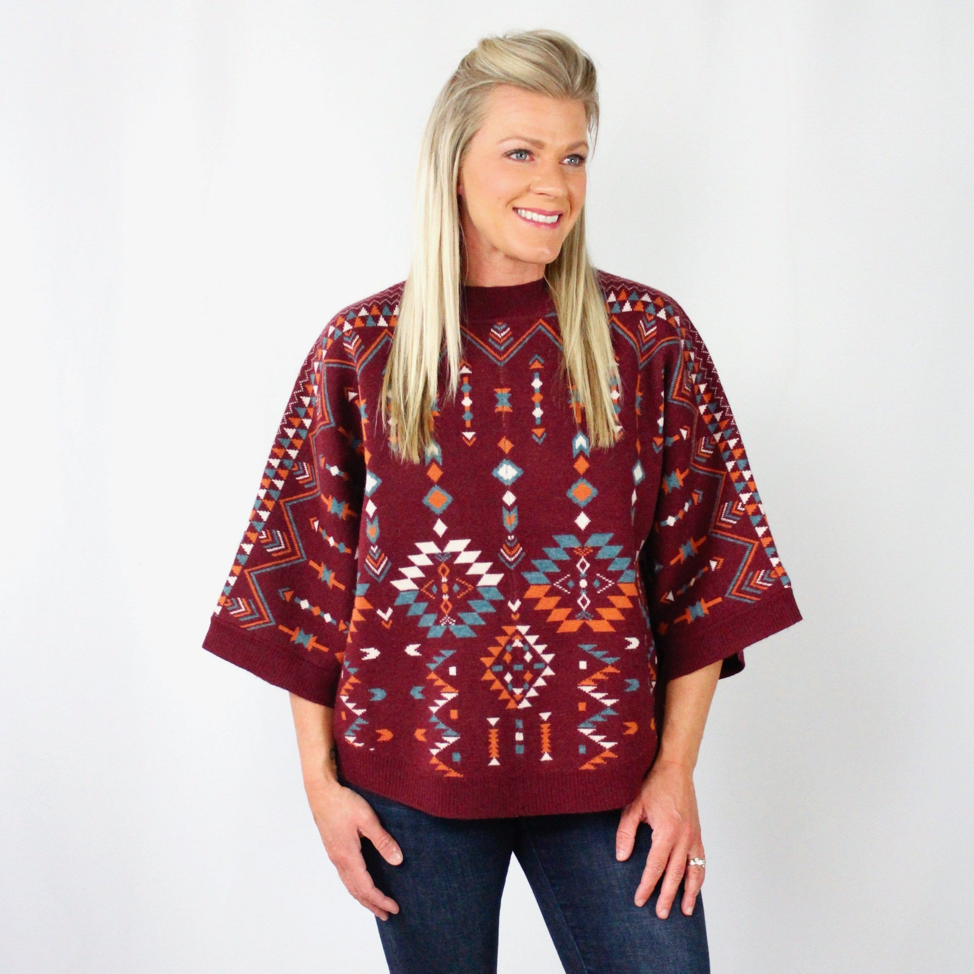 Aztec Print Wine Sweater