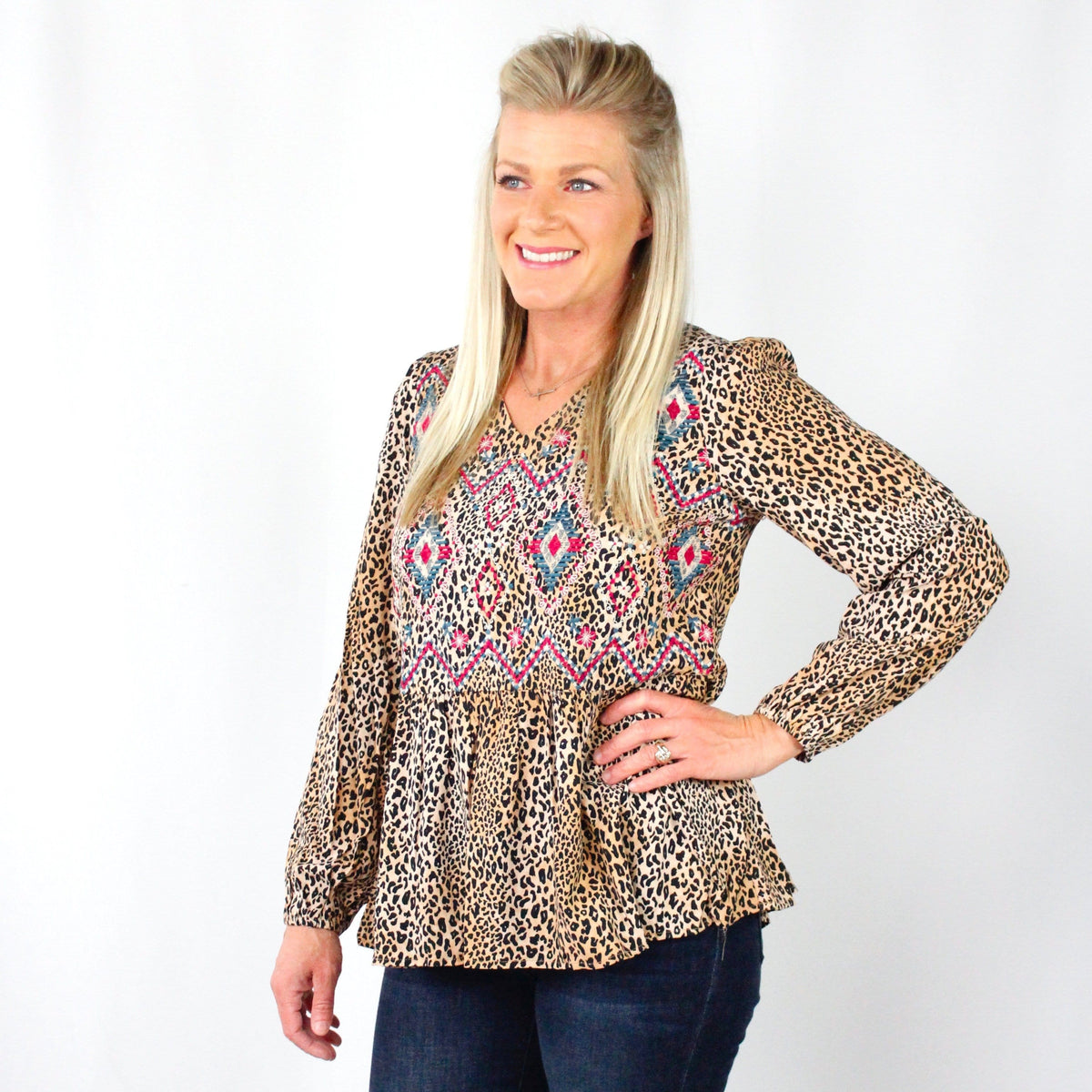 Embroidered Leopard Print Babydoll Top