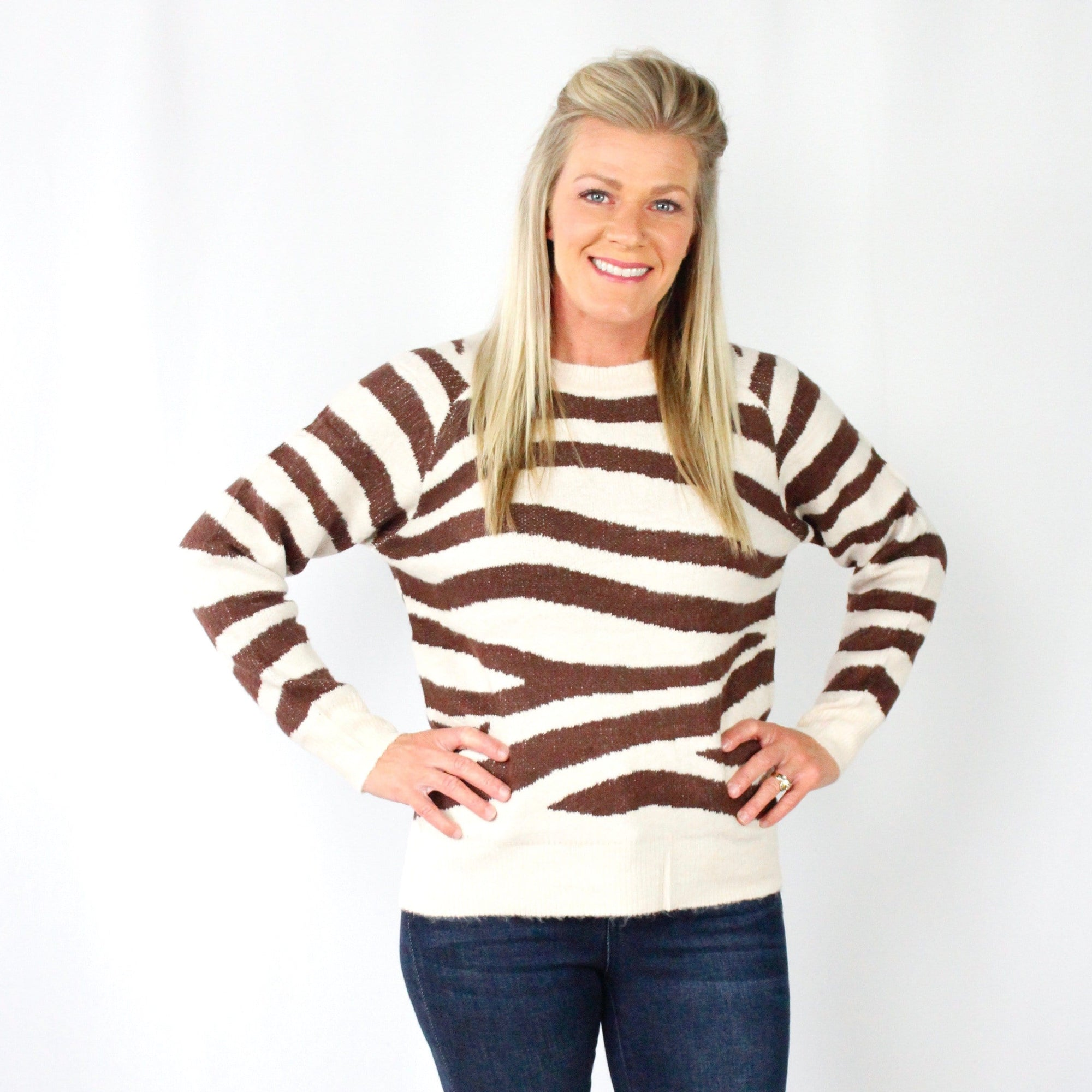 Zebra Pullover Sweater