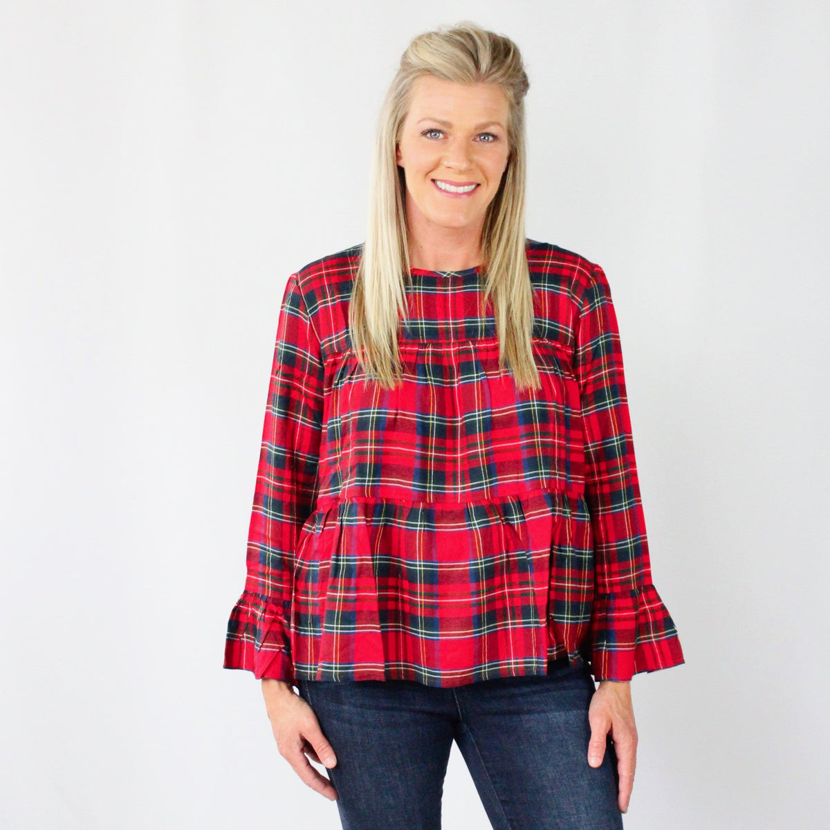 Evelyn Red Plaid Tiered Top