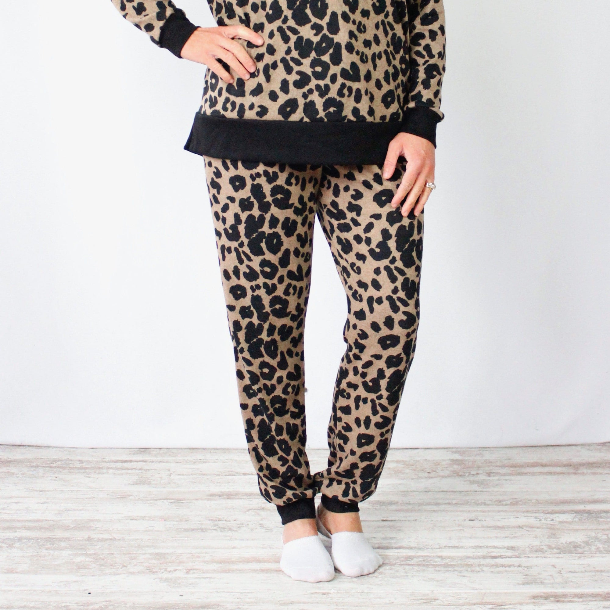 Taupe Leopard Joggers