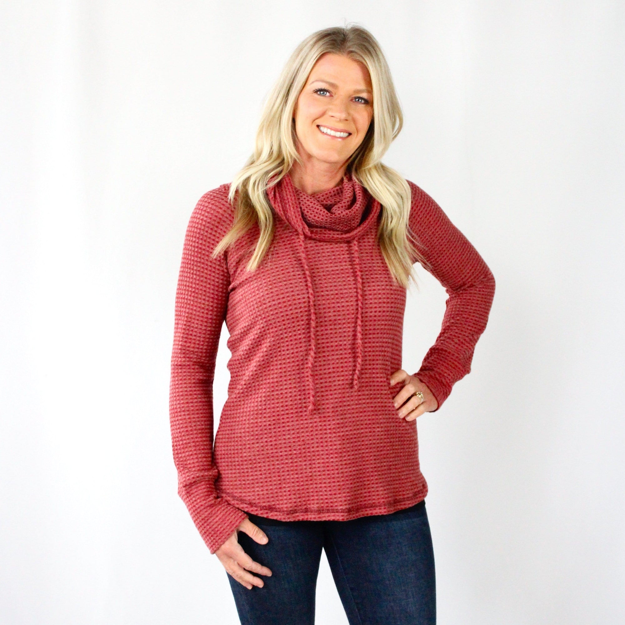 Burgundy Drawstring Cowl Neck Top