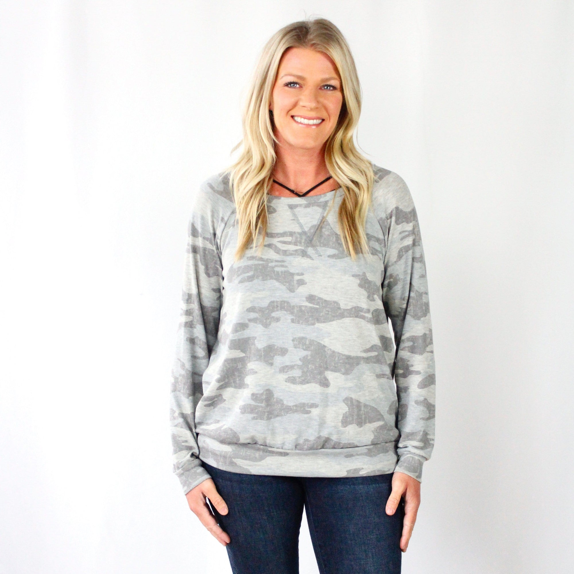 Grey Distress Pattern Top