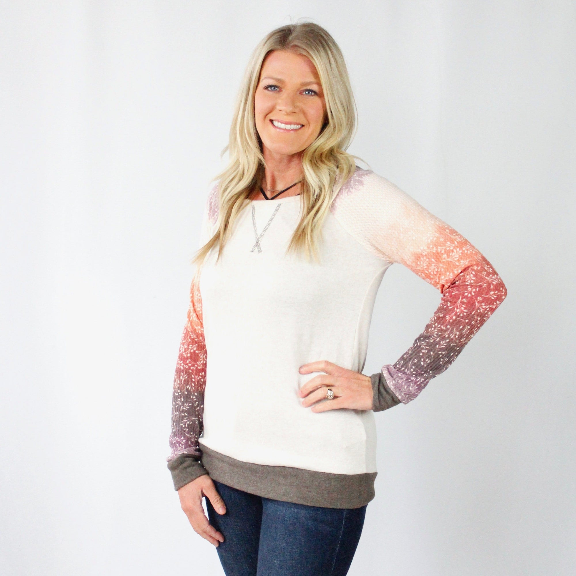 Oatmeal Ombre Sleeve Top