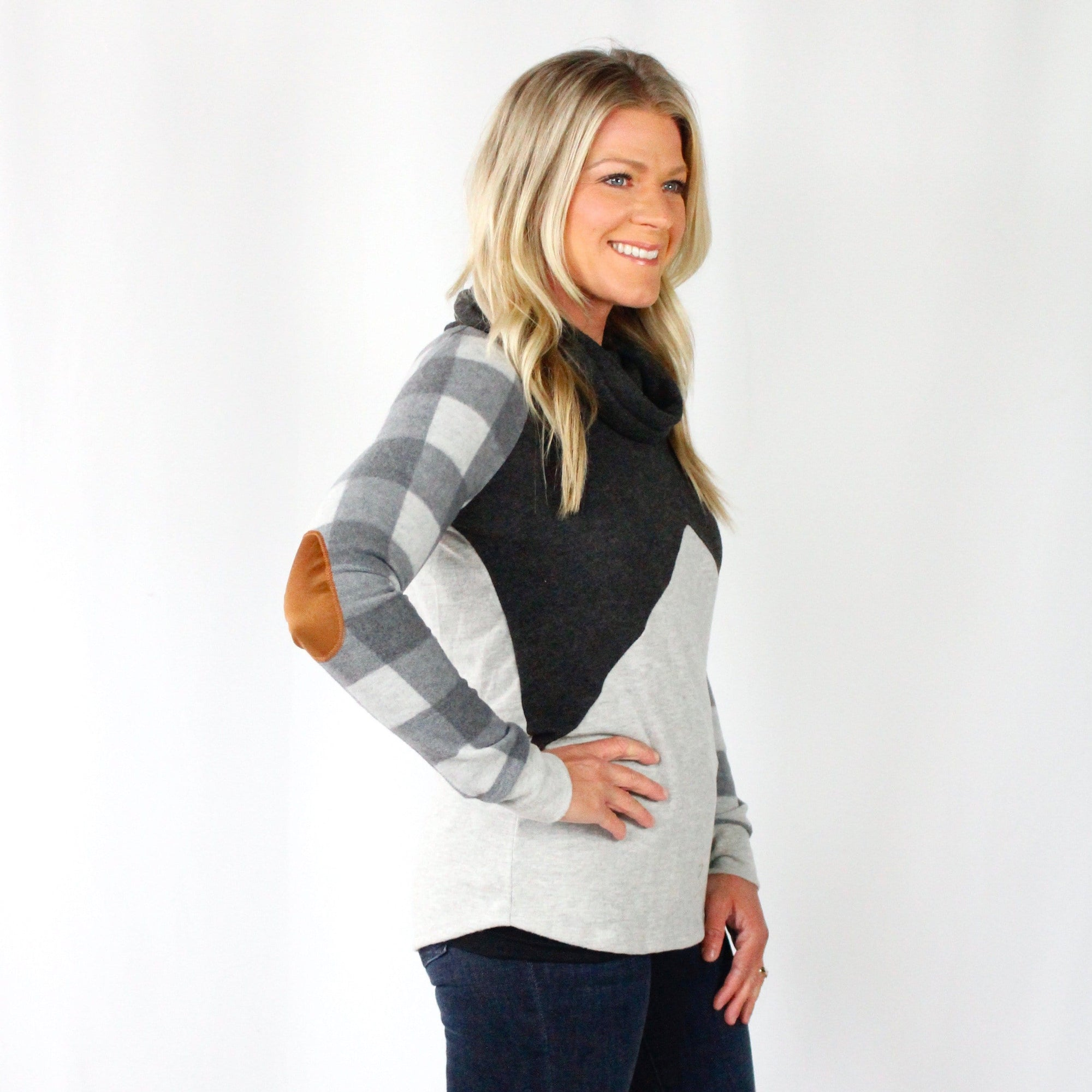 Grey Cowl Neck Plaid Raglan Top