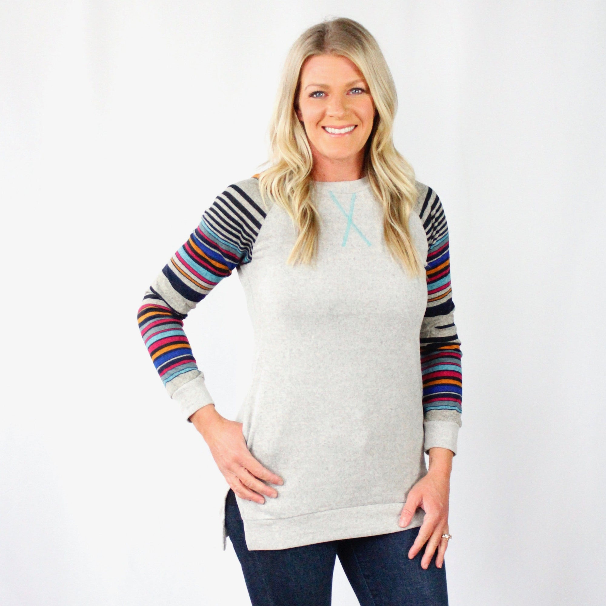 Multi Stripe Sleeve Tunic