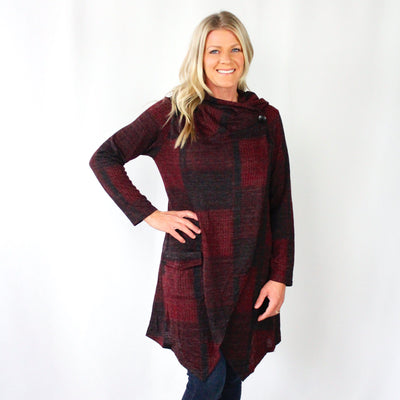 Plaid Cowl Neck Crossover Cardigan