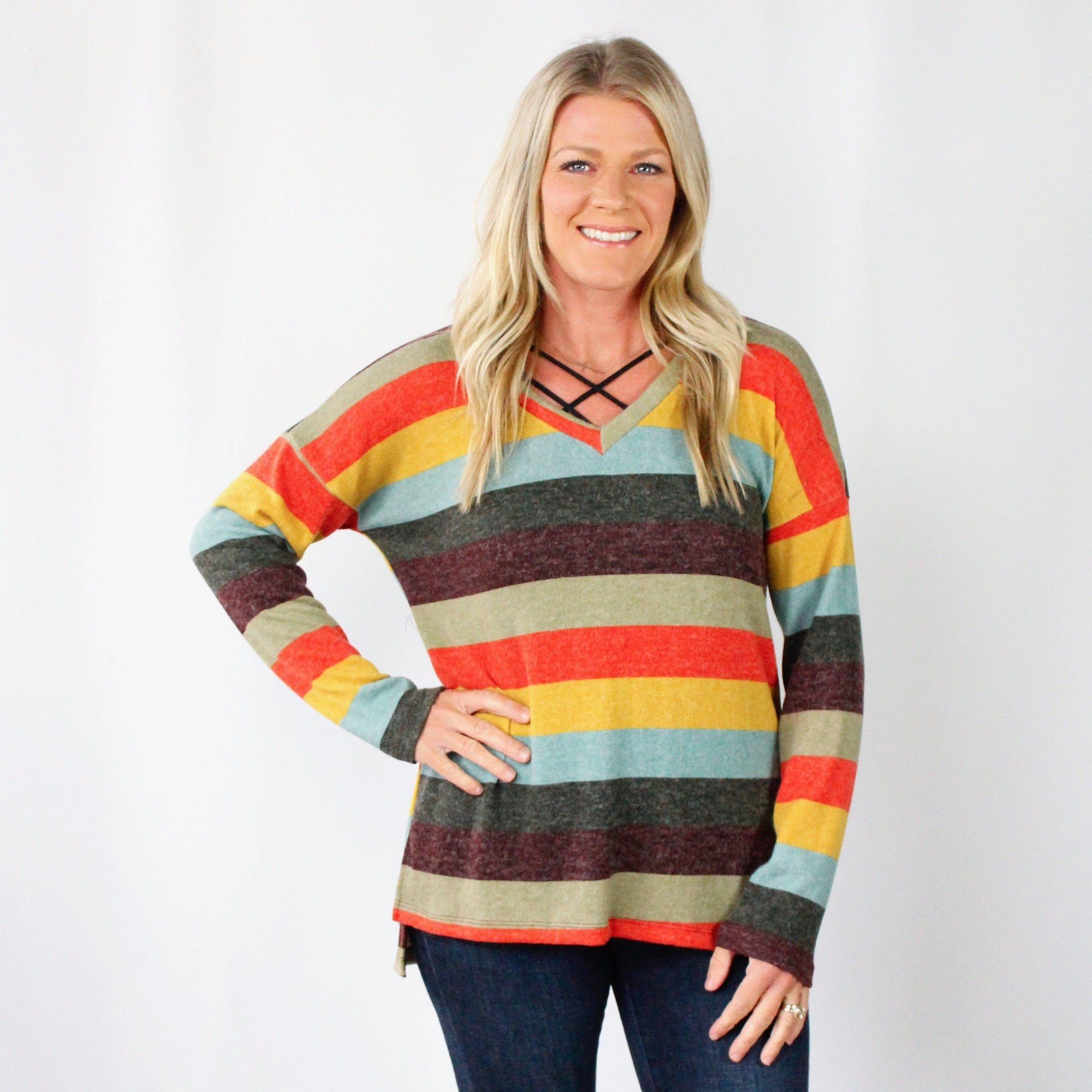 Stripe Light Knit Sweater