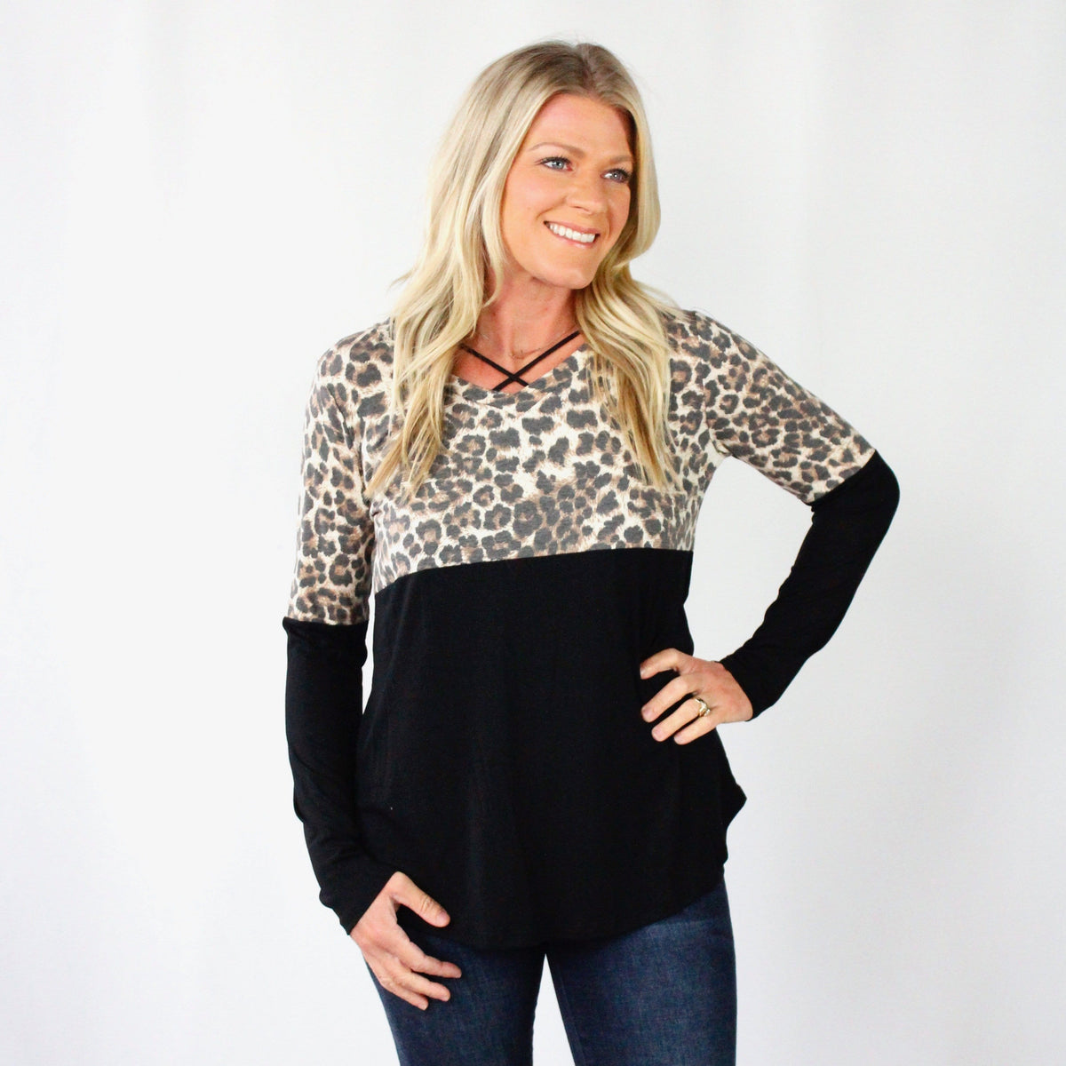 Leopard Block Long Sleeve Top