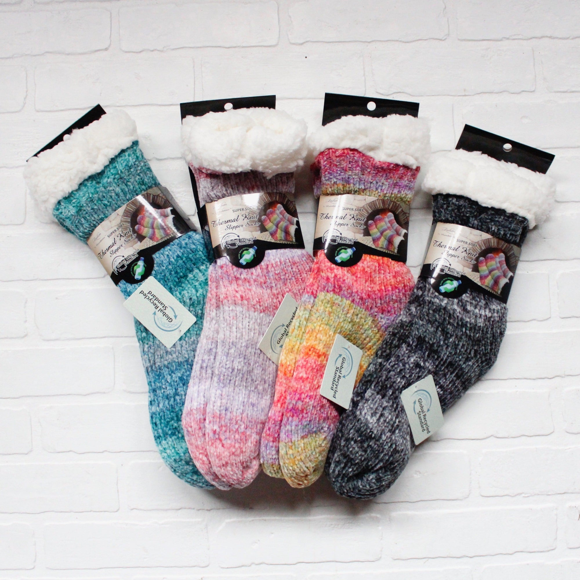 Ombre Yarn Thermal Slipper Socks