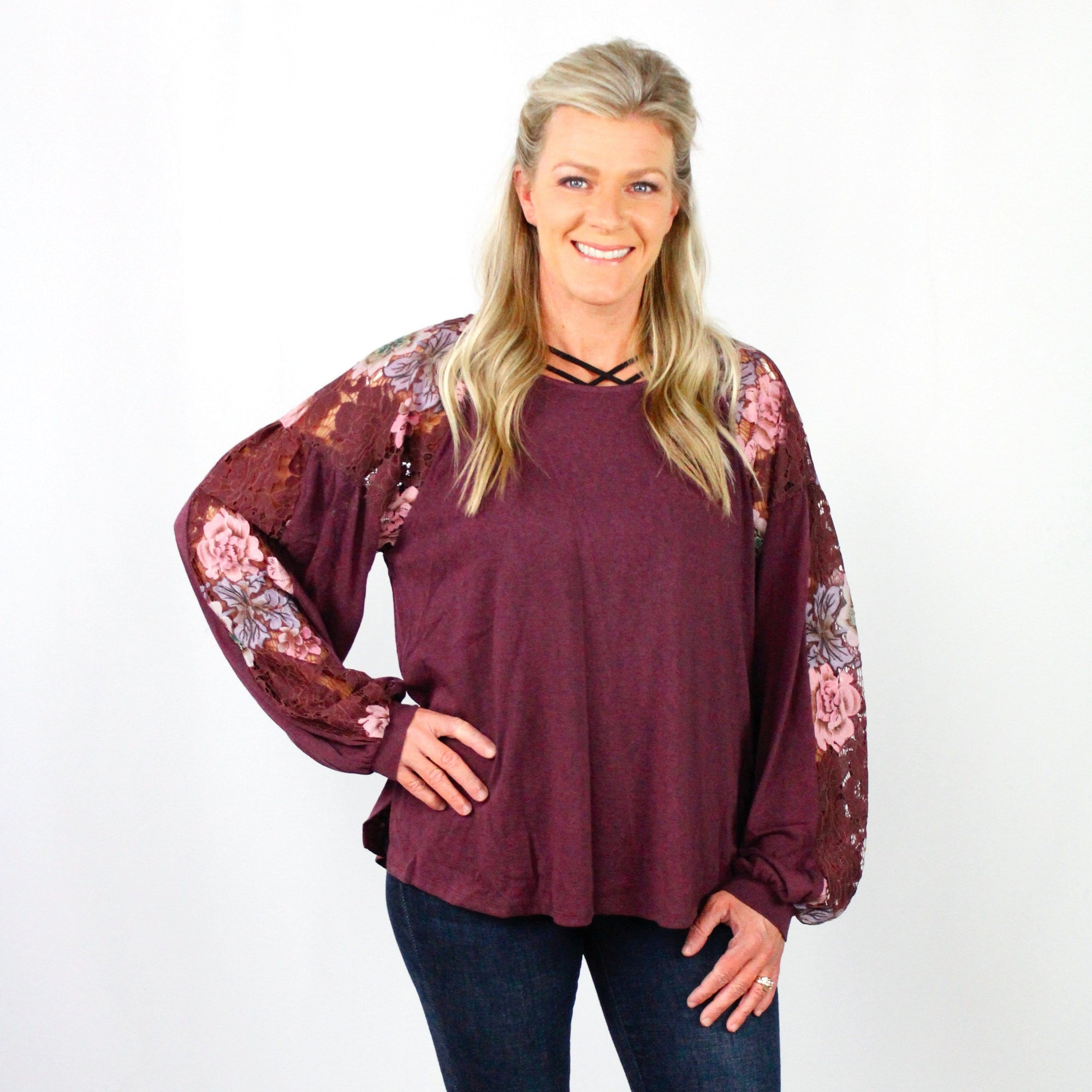 Floral Lace Raglan Puff Sleeve Top