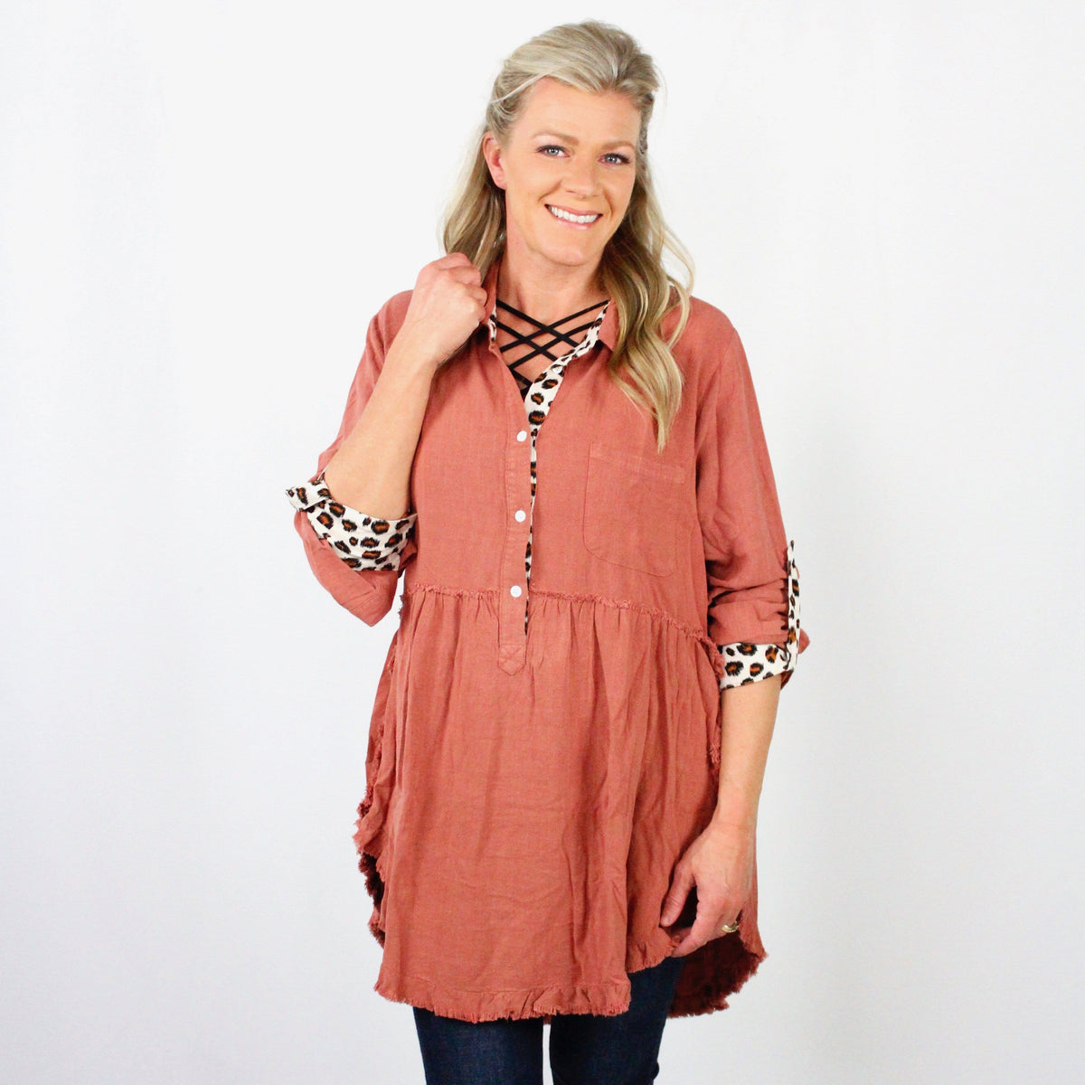 Animal Tab Frayed Tunic Dress