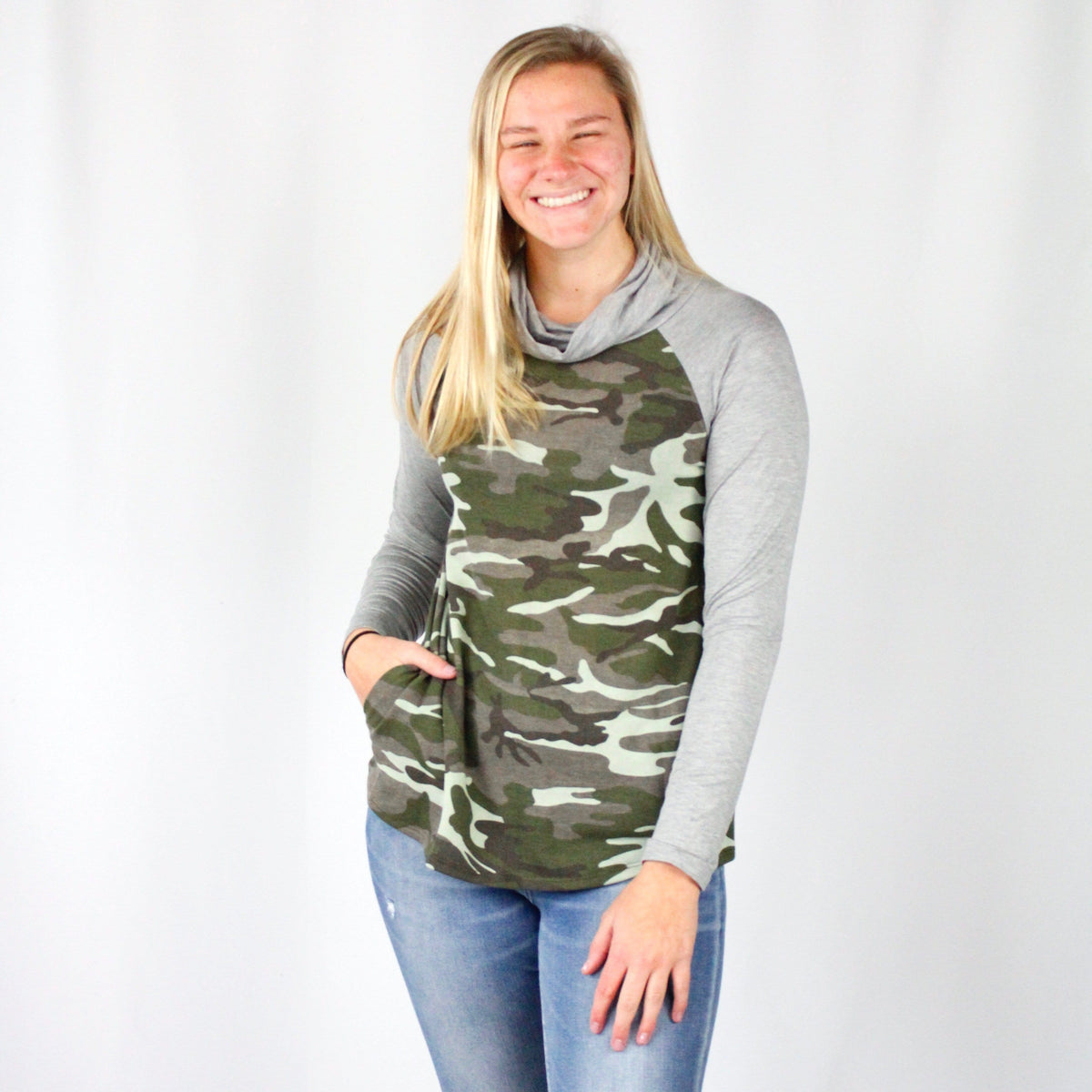 Camo Contrast Cowl Neck Top