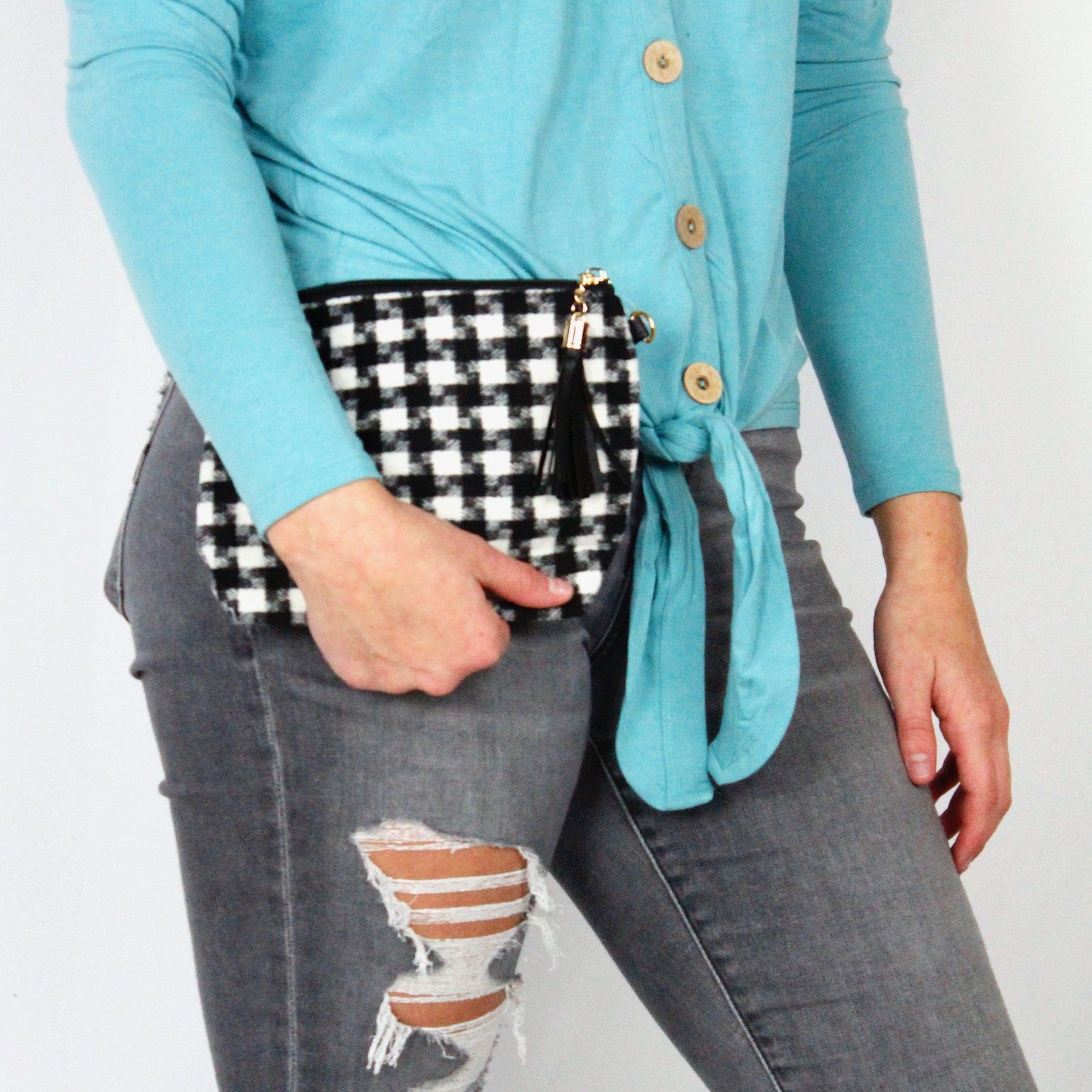 Houndstooth Wristlet Pouch Bag