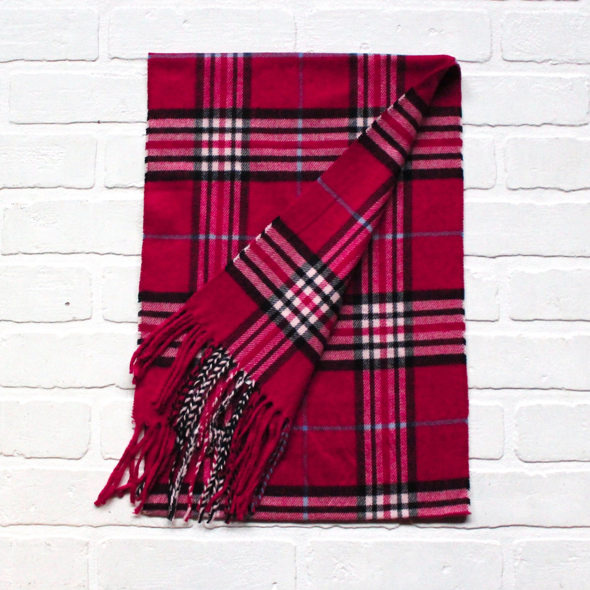 Cashmere Feel Scarf Rose Plaid