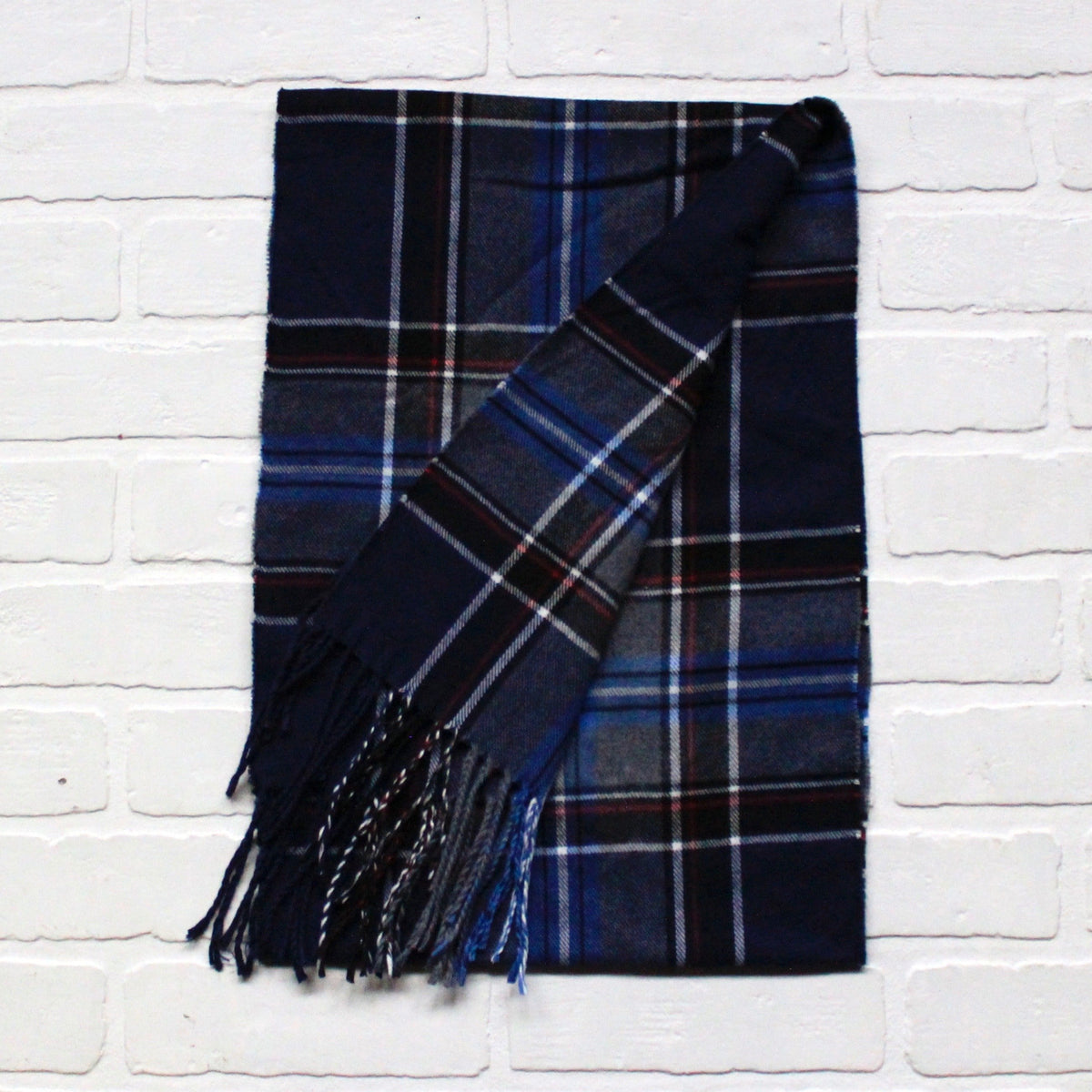 Cashmere Feel Scarf Blue Navy Plaid