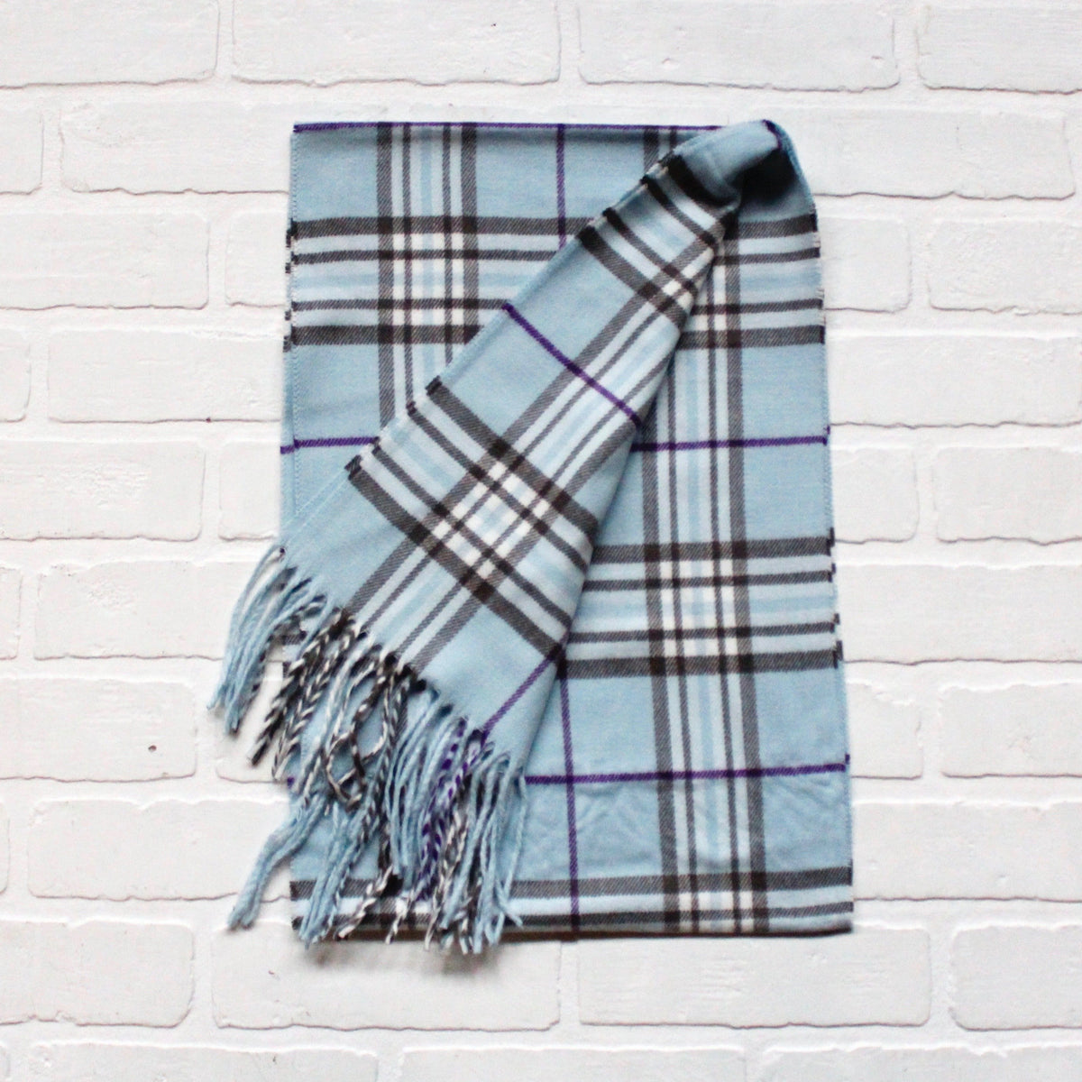 Cashmere Feel Scarf Blue Purple Plaid