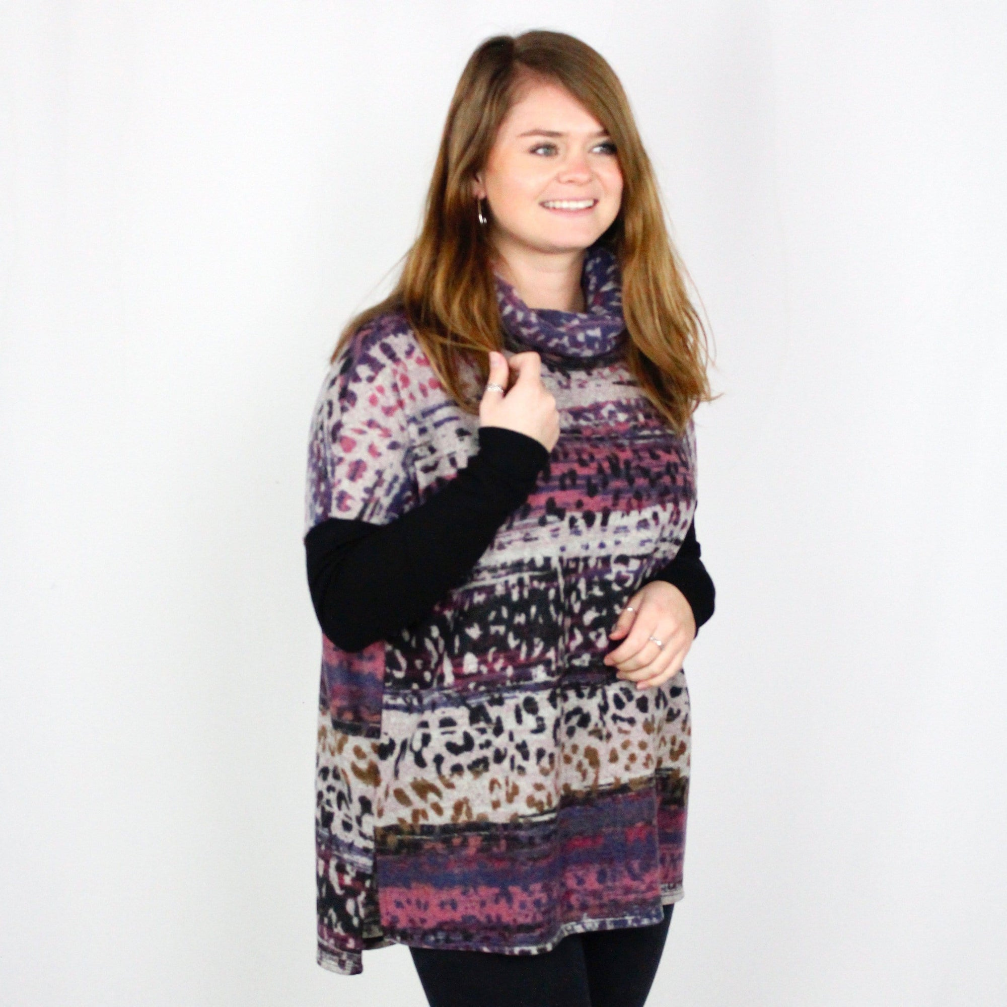 Mauve Animal Print Cowl Top