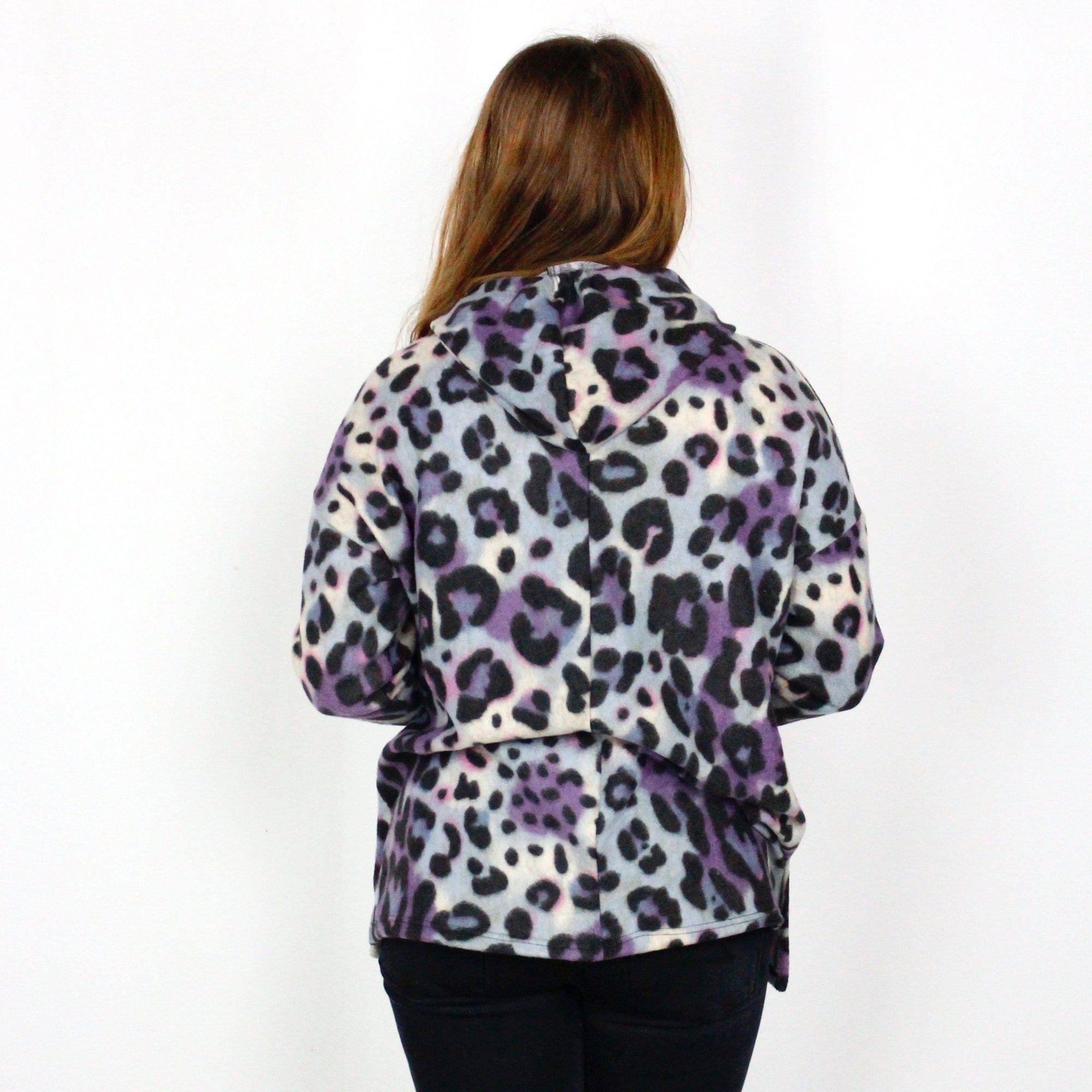 Purple Animal Print Fleece Hoodie