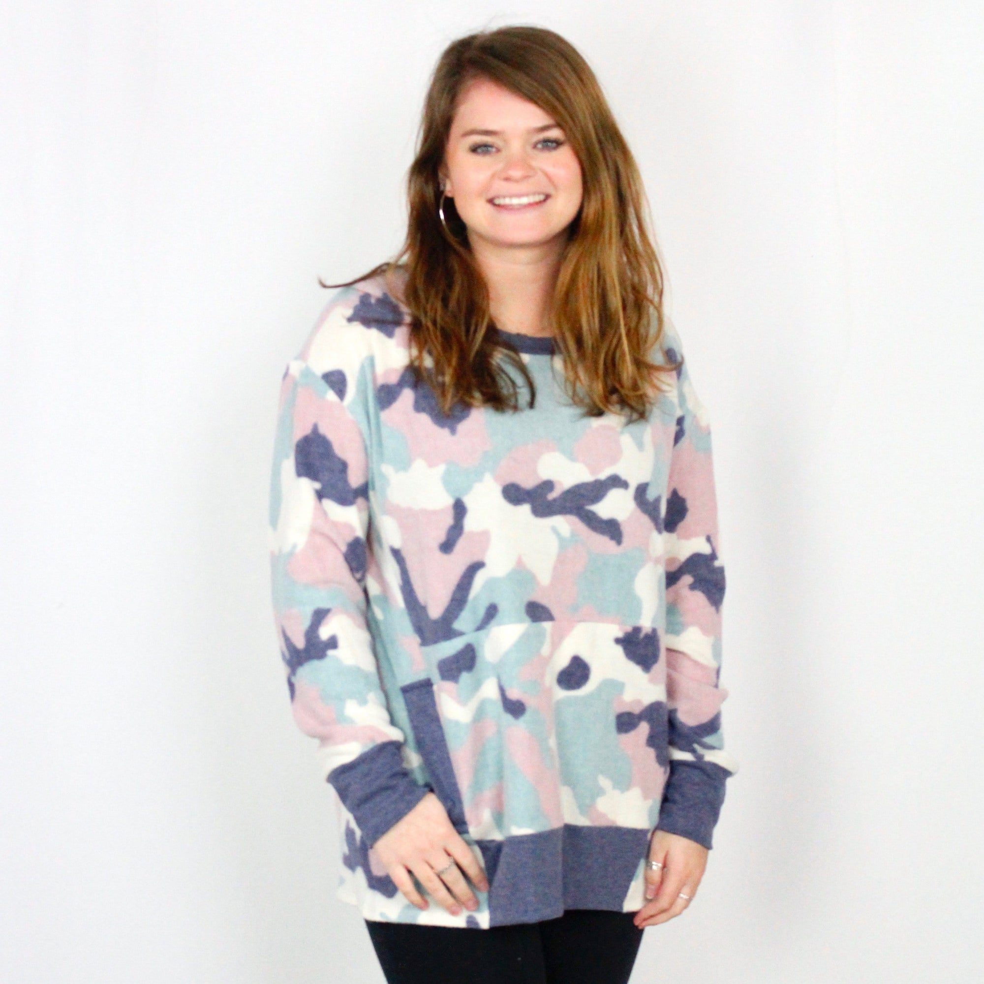 Mint Camo Fleece Pocket Top