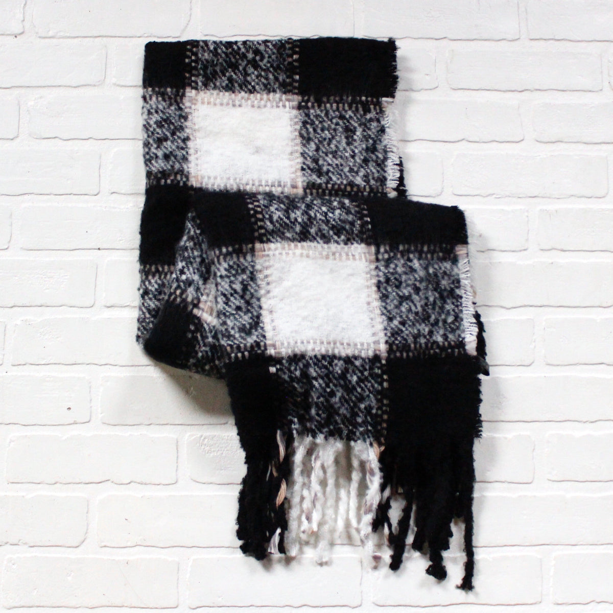 Black Buffalo Plaid Scarf