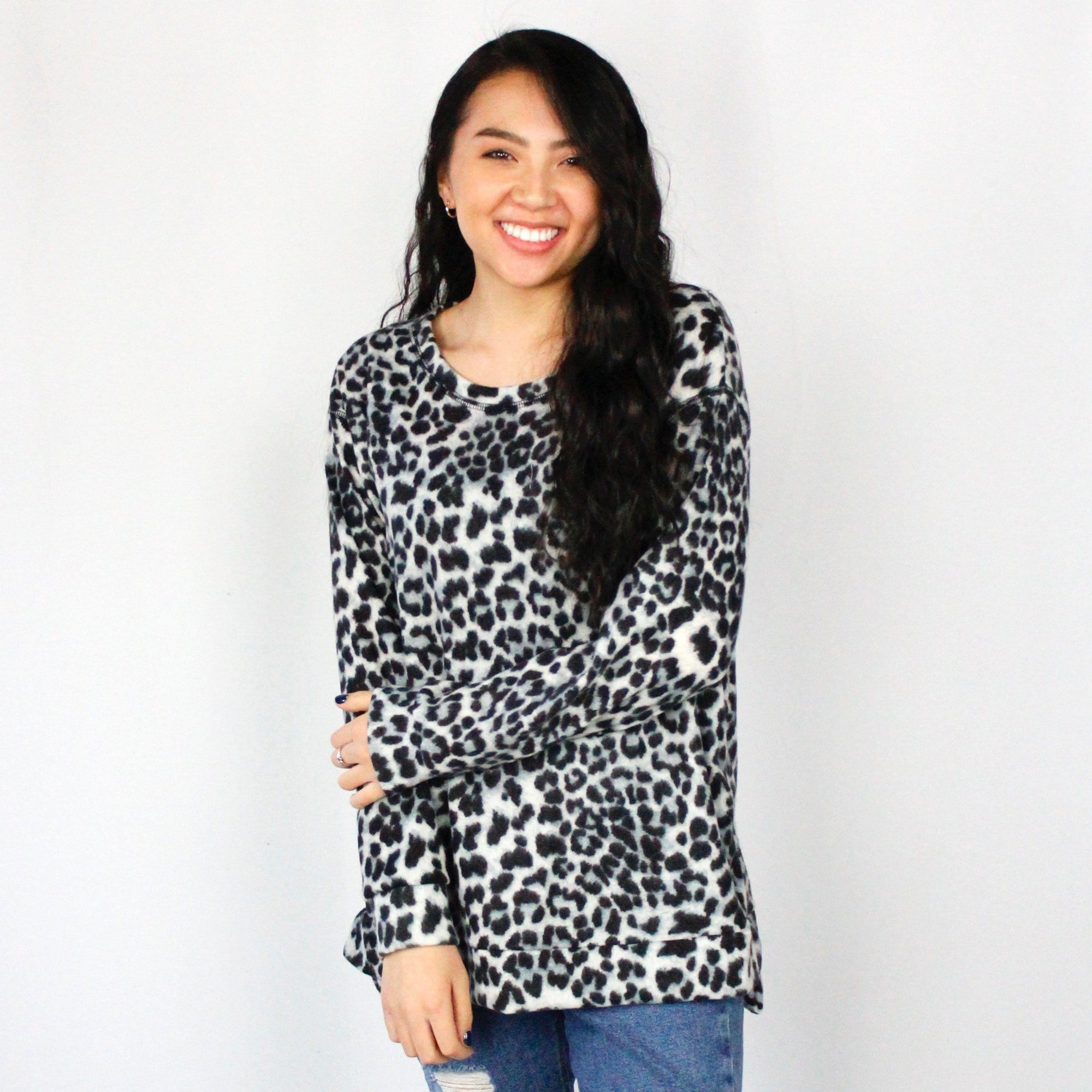 Grey Leopard Fleece Weekender