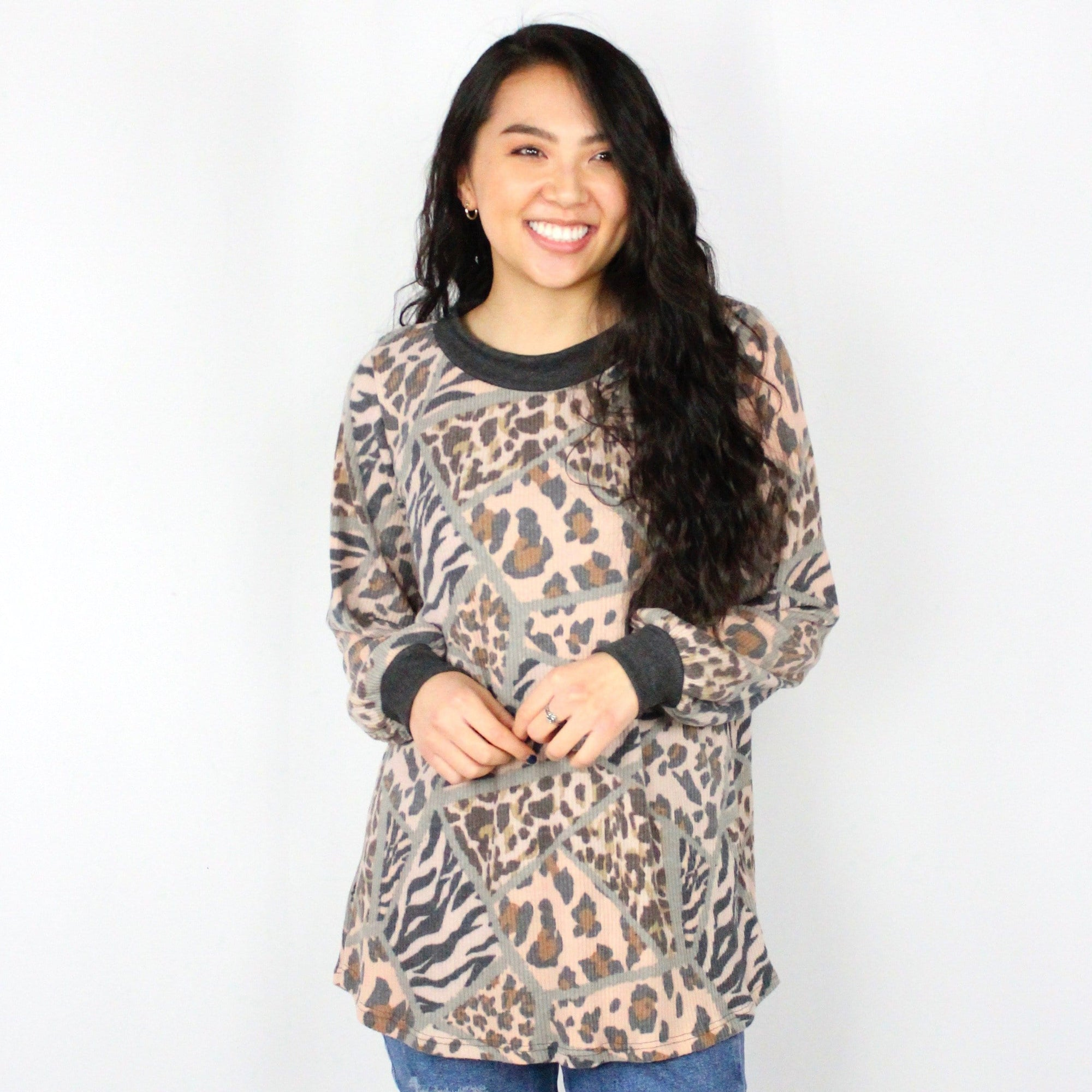 Animal Mixed Ribbed Top