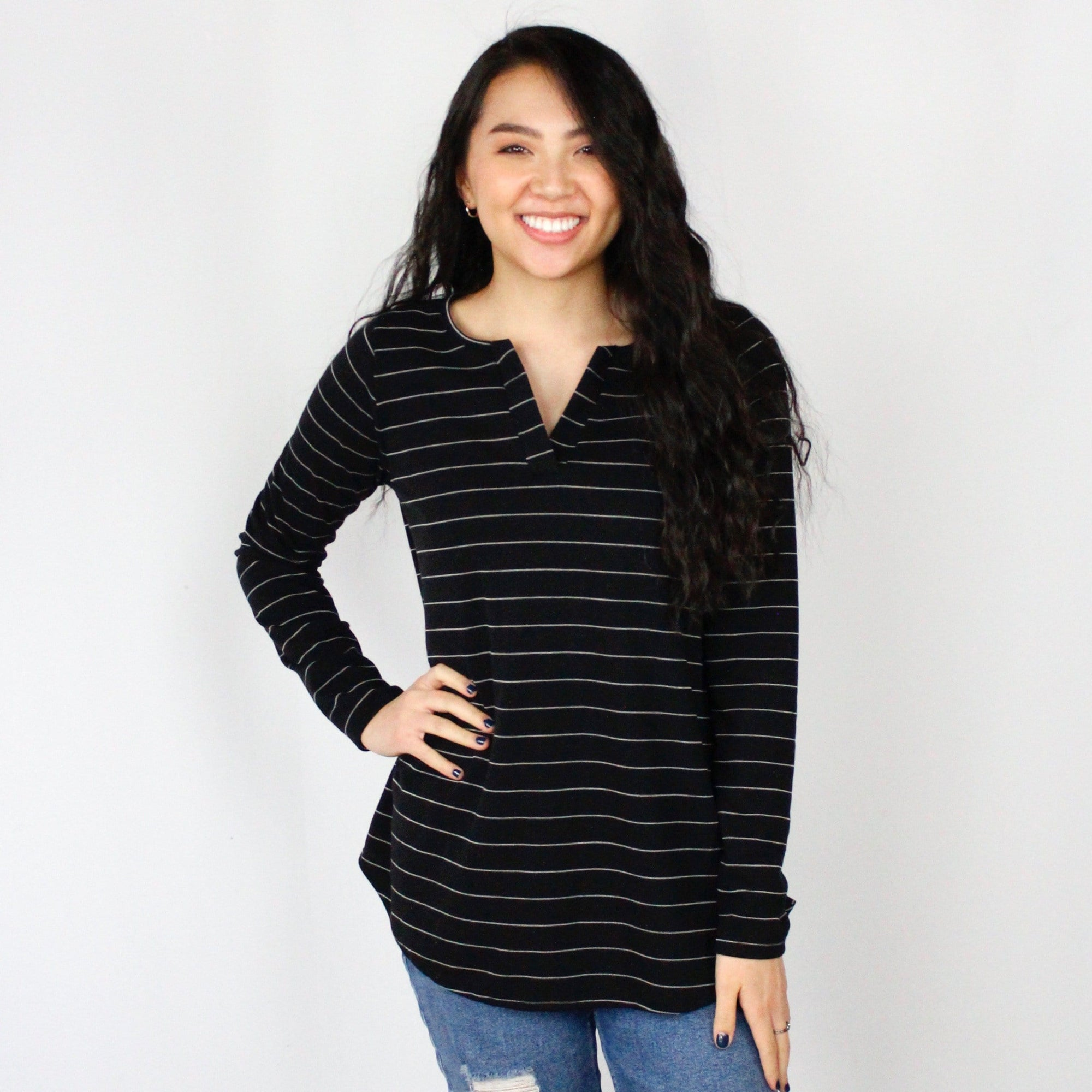Black Stripe Ribbed Top