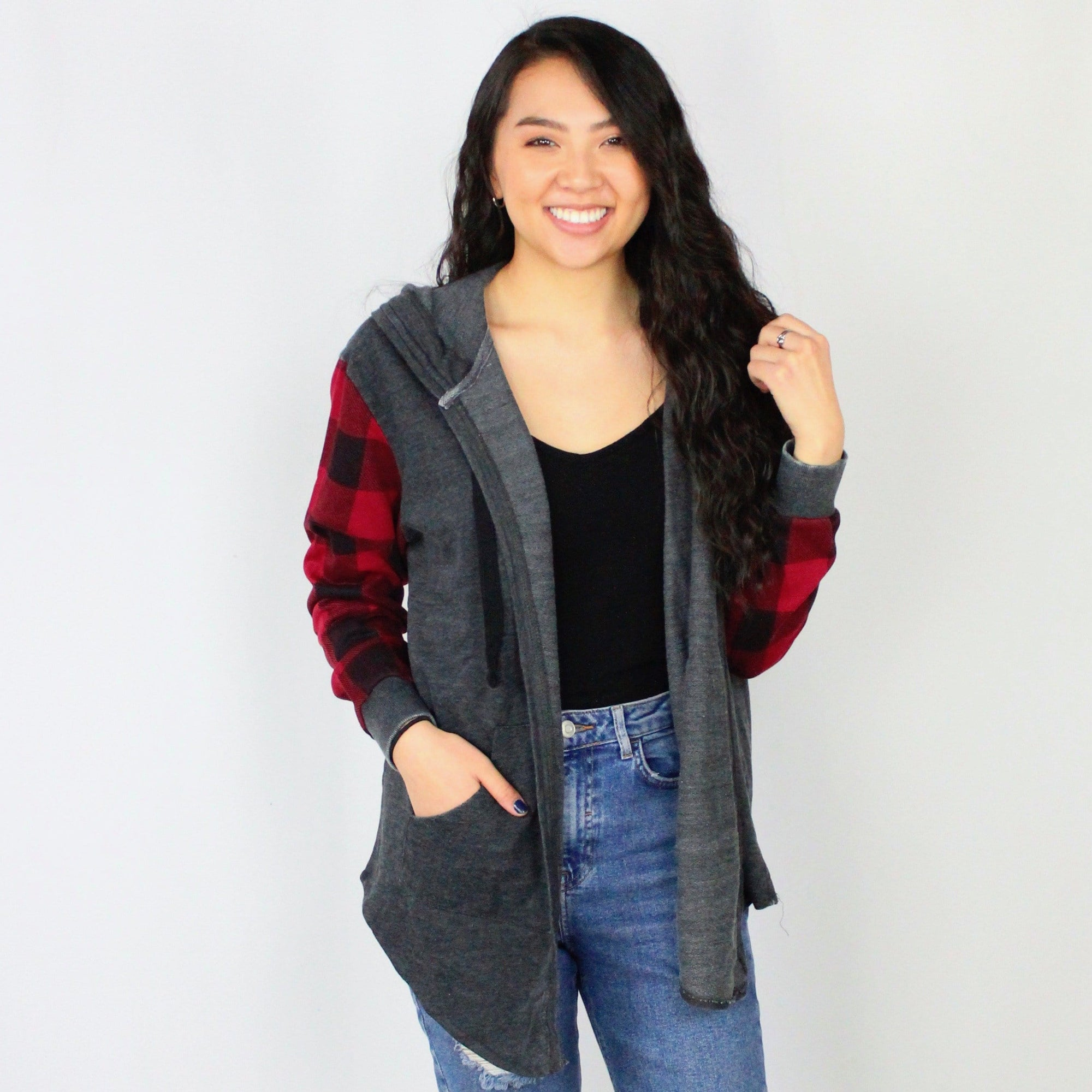 Hooded Sweatshirt Buffalo Plaid Cardigan
