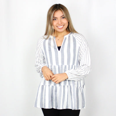 Blue Stripe Tiered Blouse