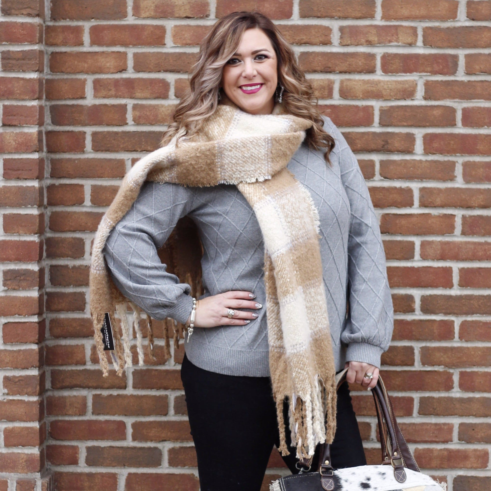 Tan Buffalo Plaid Scarf
