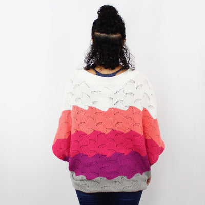 Spring Stripe Open Weave Slouchy Sweater