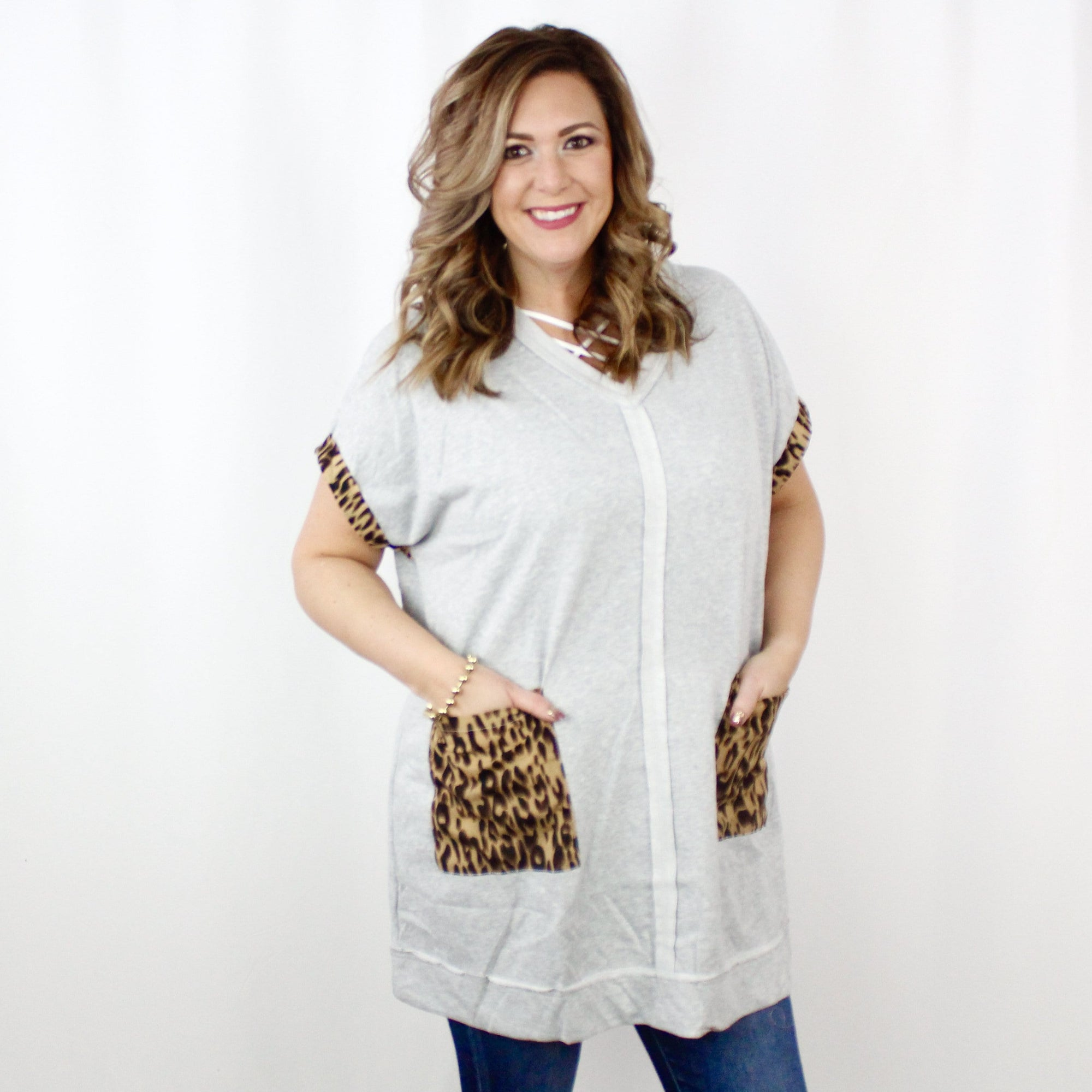 Grey French Terry Animal Pocket Dress